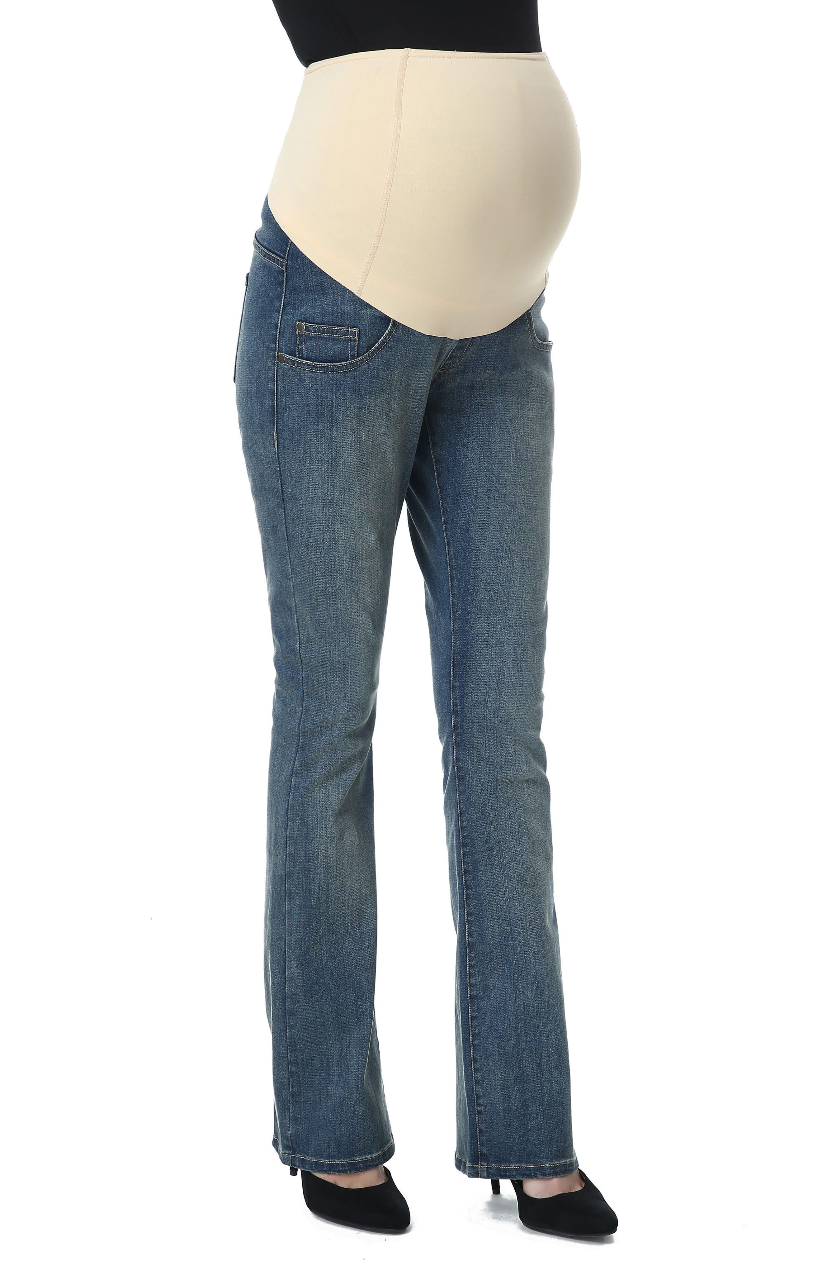 Dixie Maternity Flare Jeans,                             Main thumbnail 1, color,                             Medium Indigo