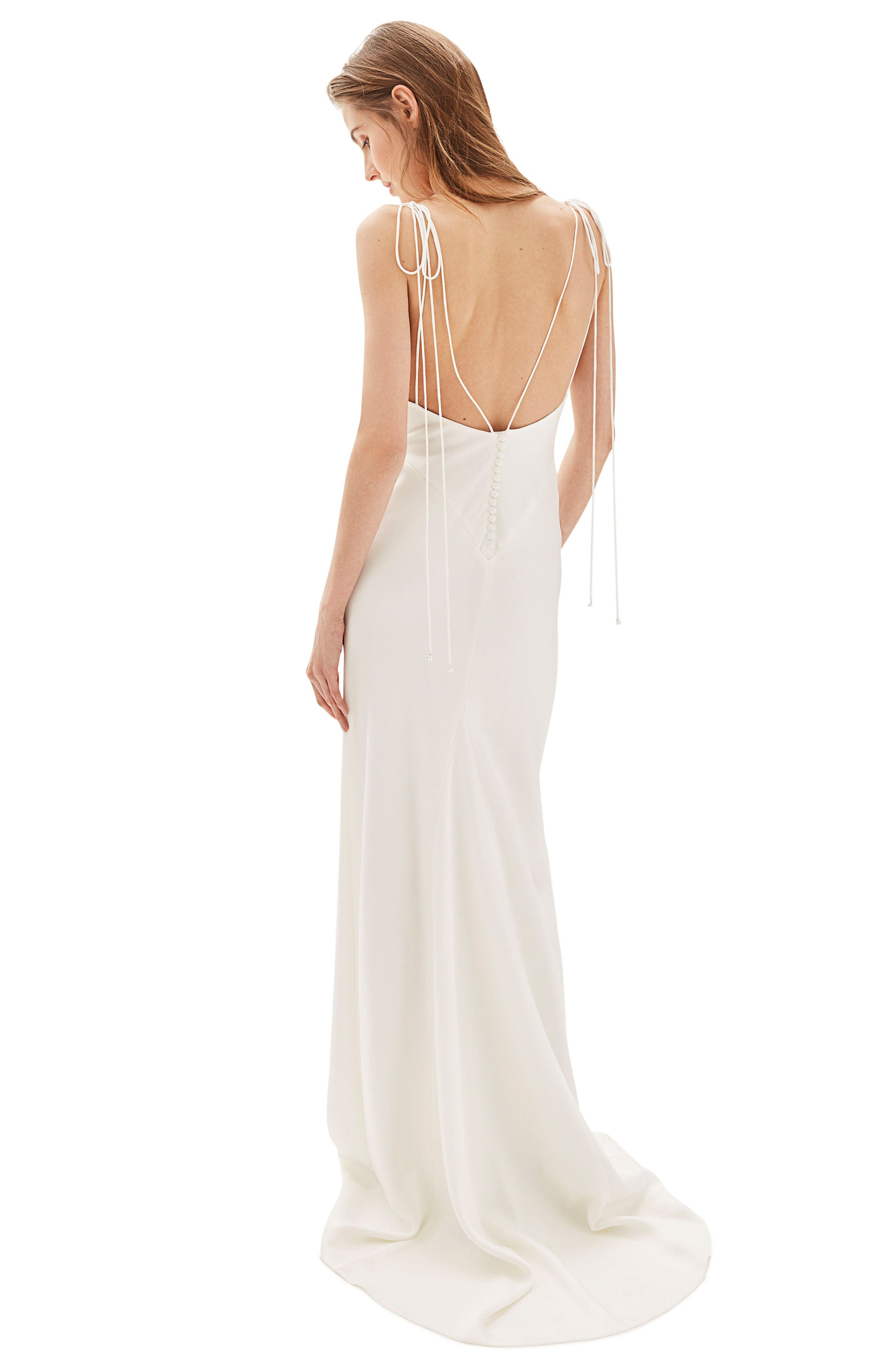 Bride V-Neck Satin Sheath Gown,                             Alternate thumbnail 3, color,                             Ivory