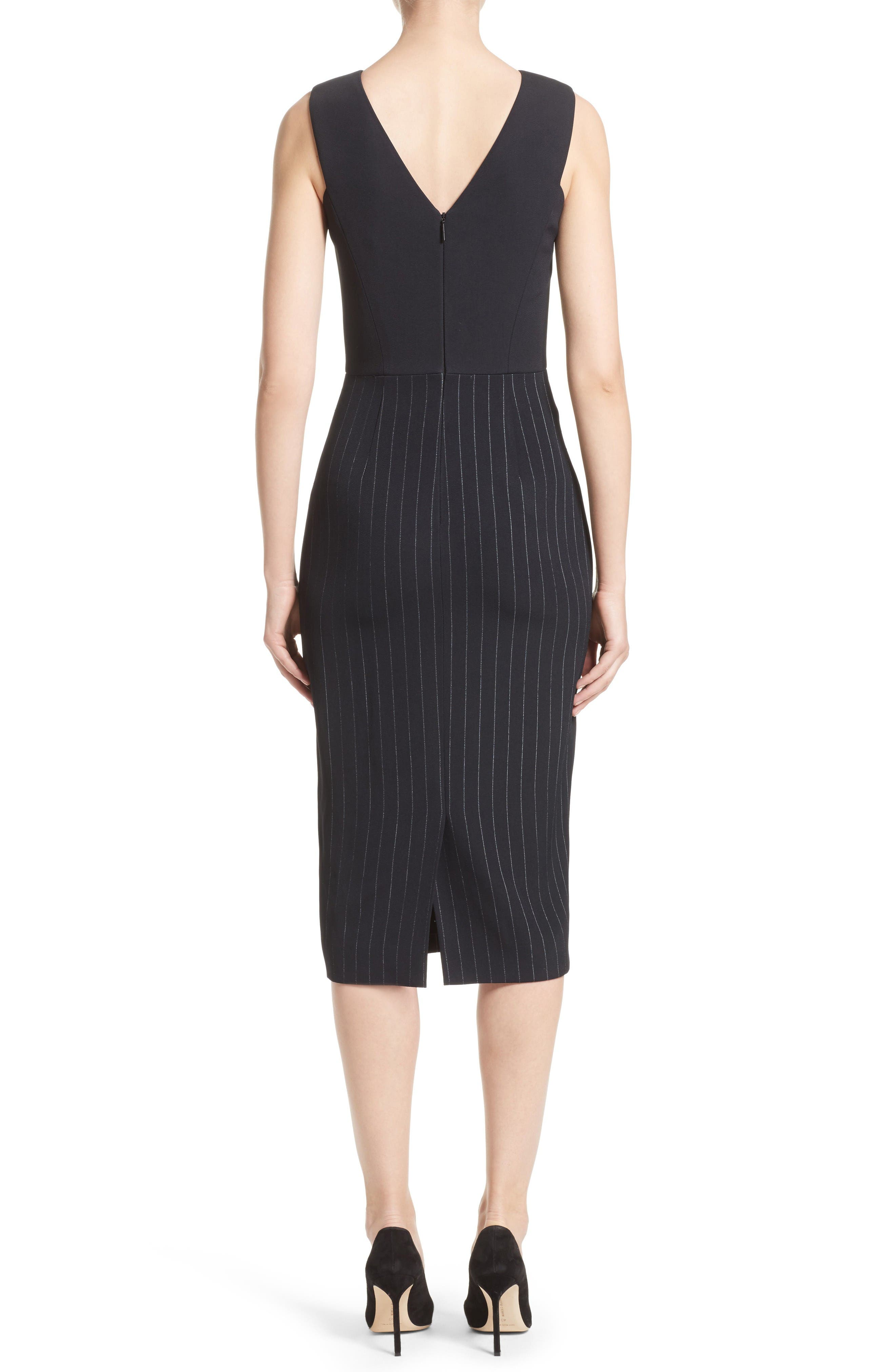 Pinstripe Stretch Dress,                             Alternate thumbnail 2, color,                             Black/ Chalk