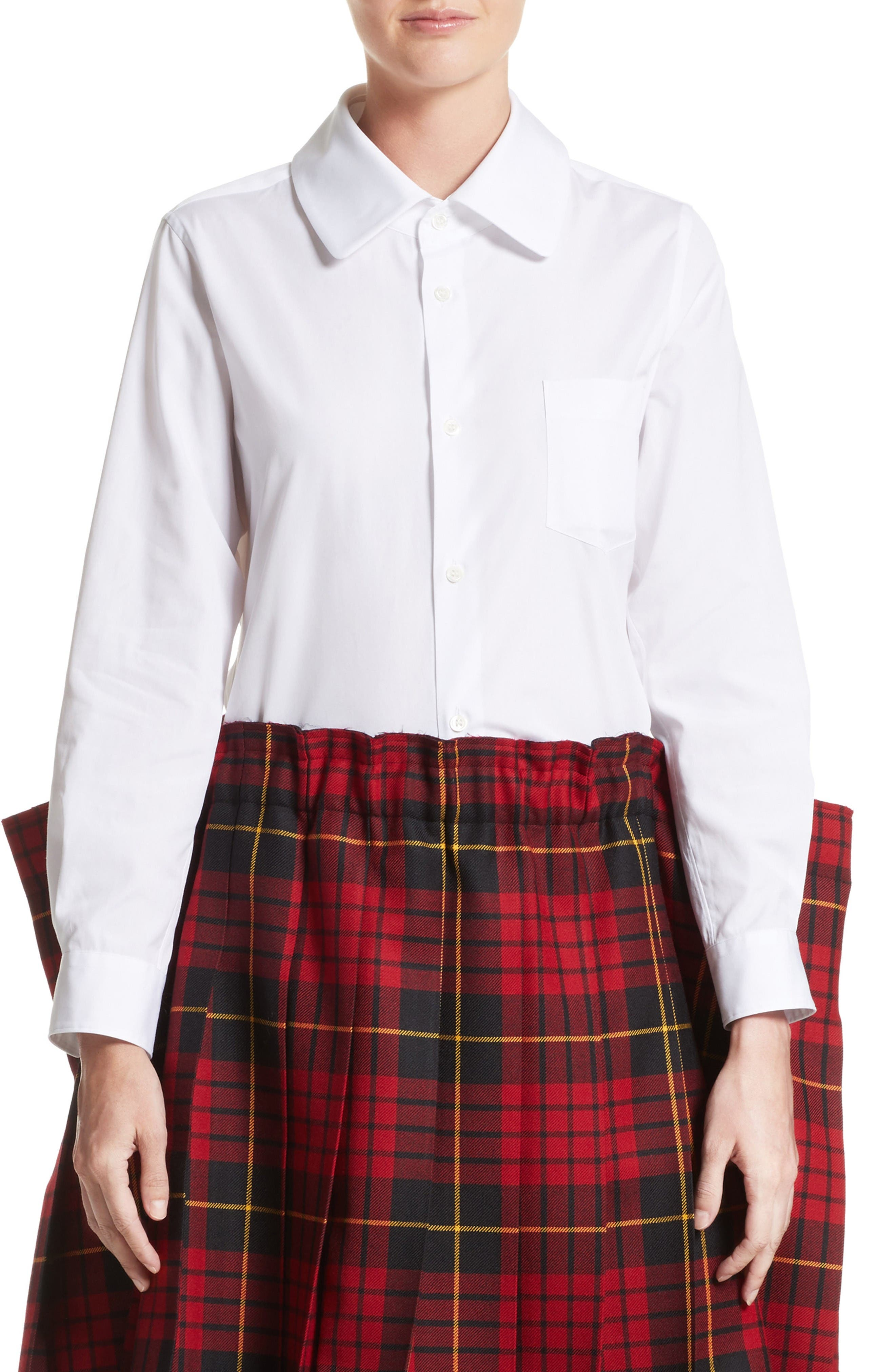 Cotton Broadcloth Blouse,                         Main,                         color, White