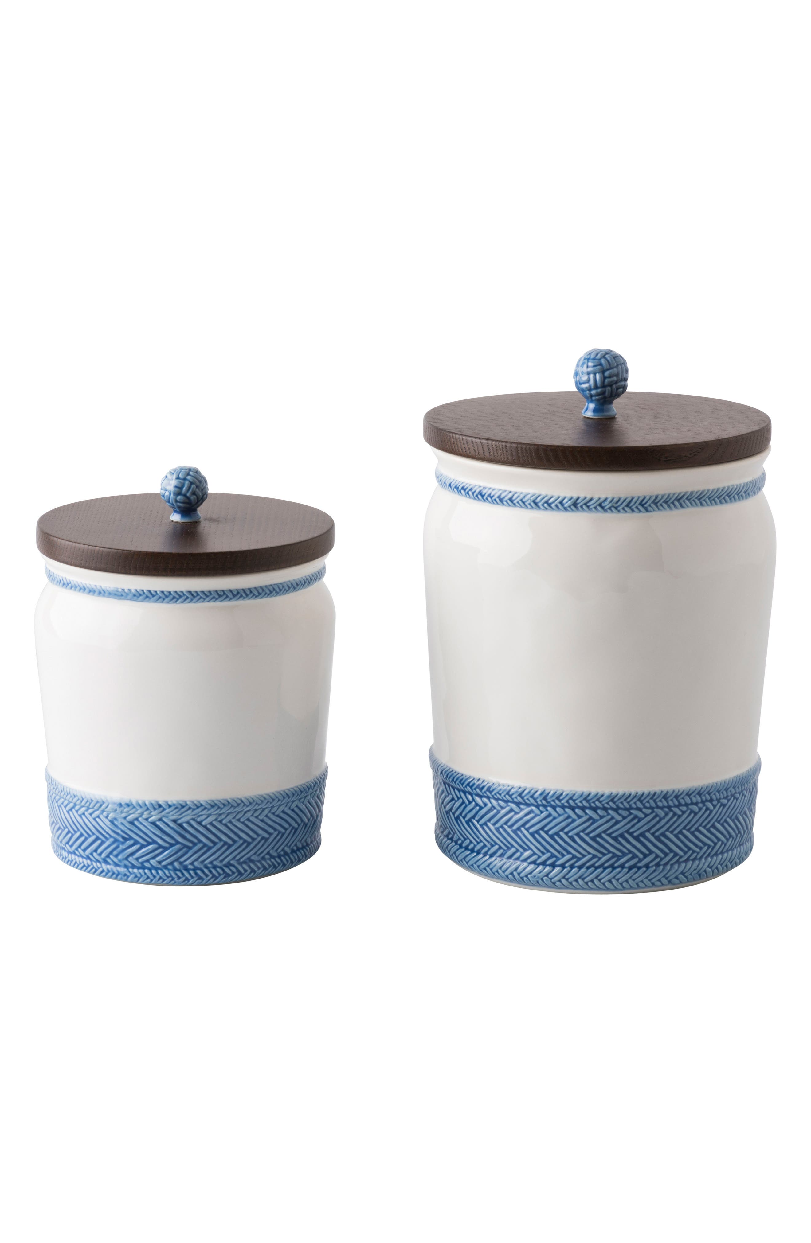 Le Panier Stoneware Canister,                             Alternate thumbnail 2, color,                             Whitewash/ Delft Blue