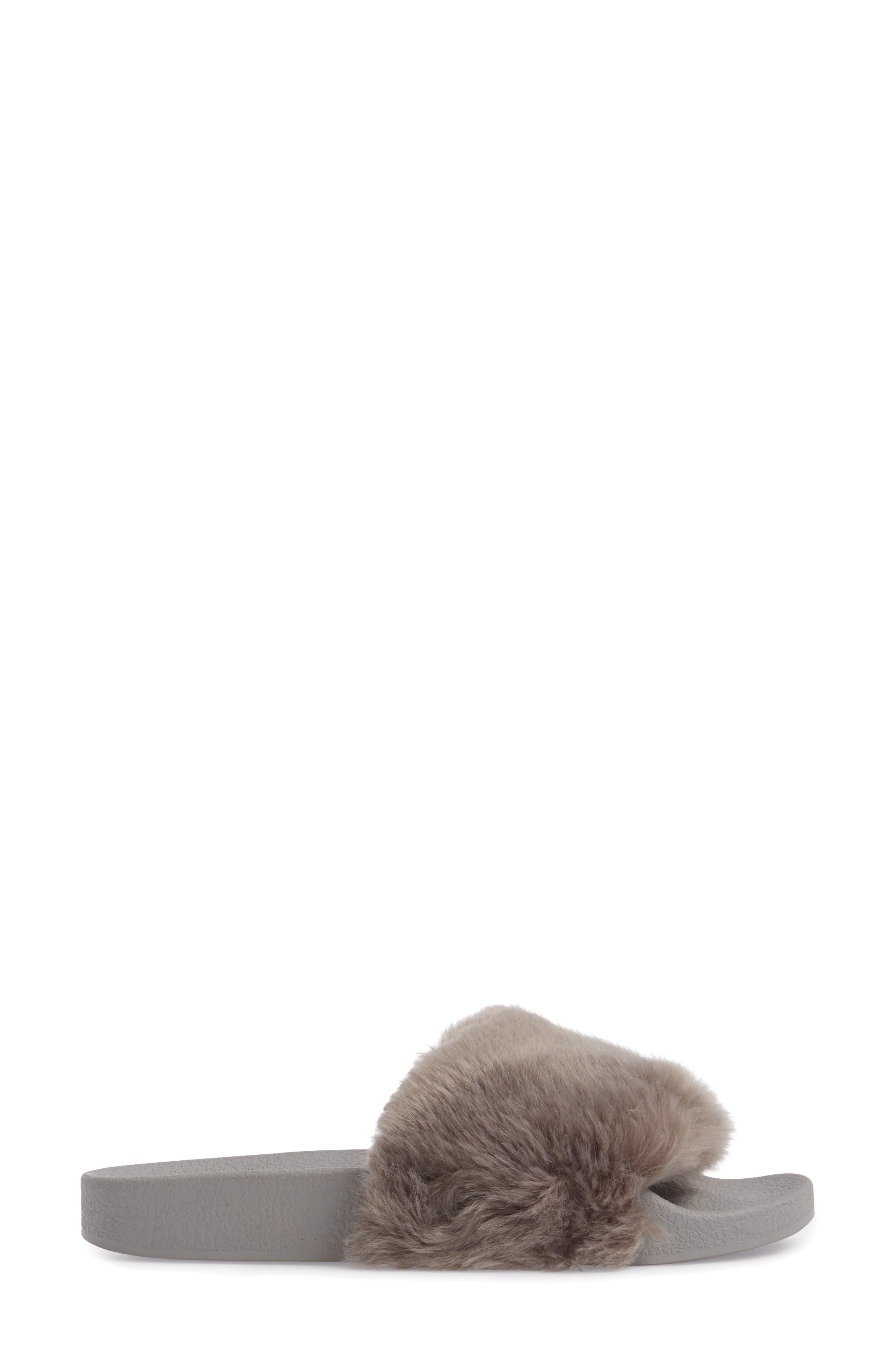 Vixen Slide Sandal,                             Alternate thumbnail 3, color,                             Grey Faux Fur