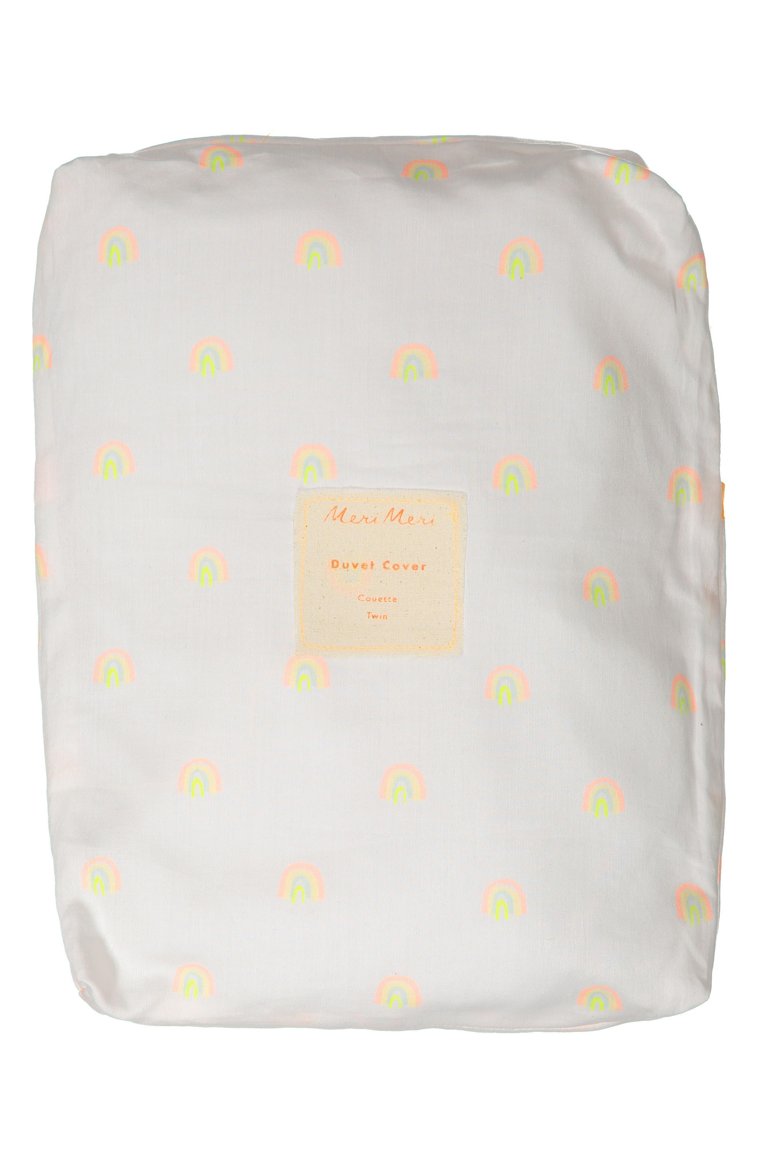 Rainbow Organic Cotton Twin Duvet Cover,                             Alternate thumbnail 3, color,                             White
