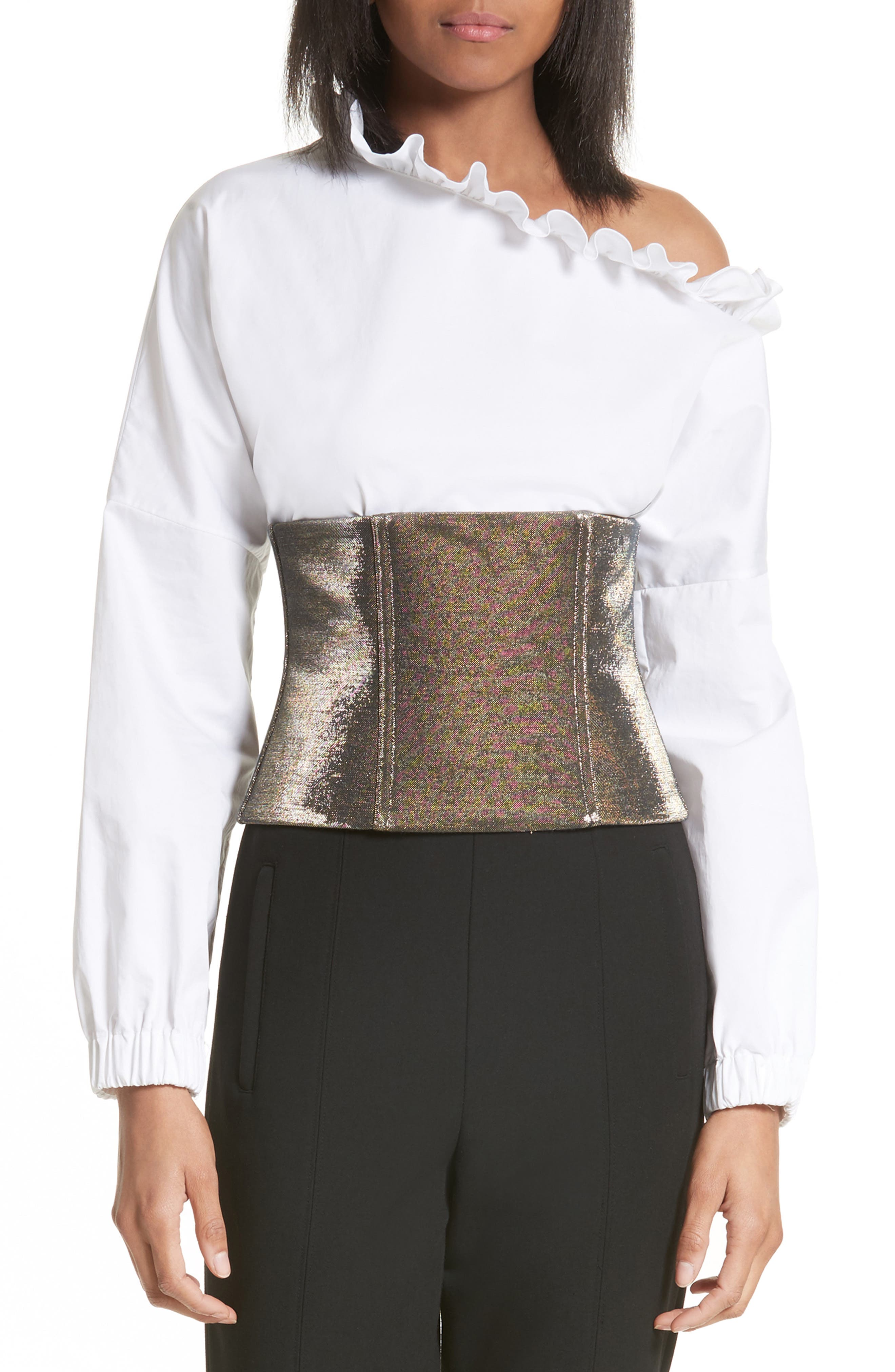 Refined Zip Corset,                         Main,                         color, Gold