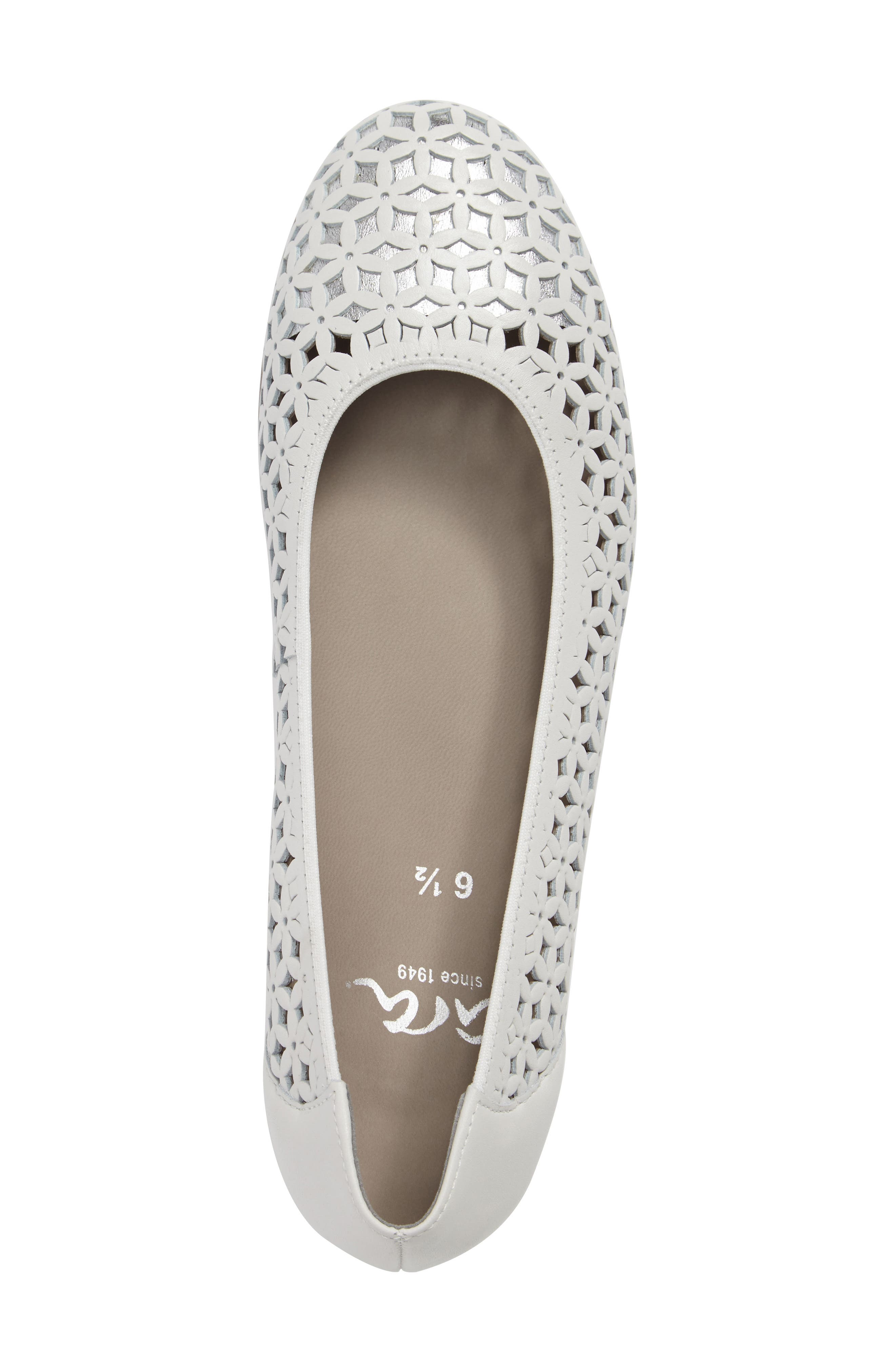 Stephanie Perforated Ballet Flat,                             Alternate thumbnail 5, color,                             White Leather