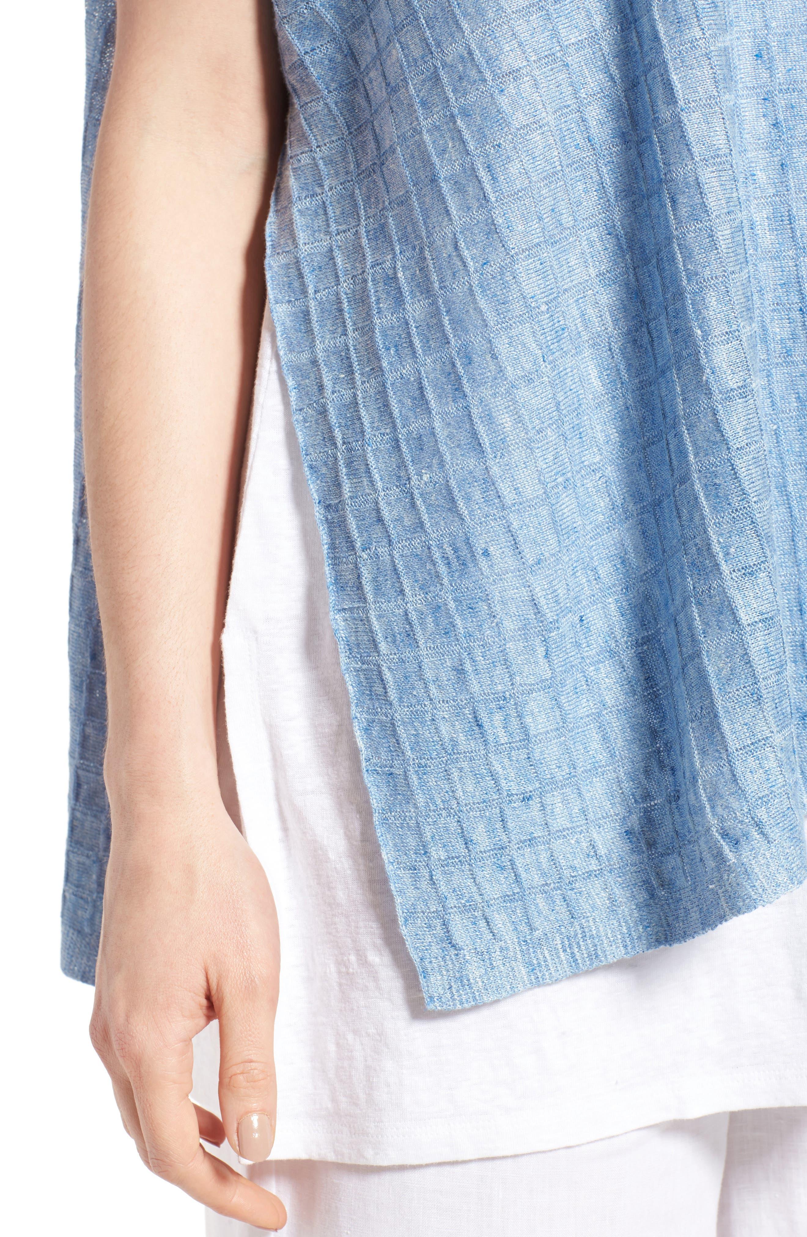Linen Side Slit Sweater,                             Alternate thumbnail 4, color,                             Sky