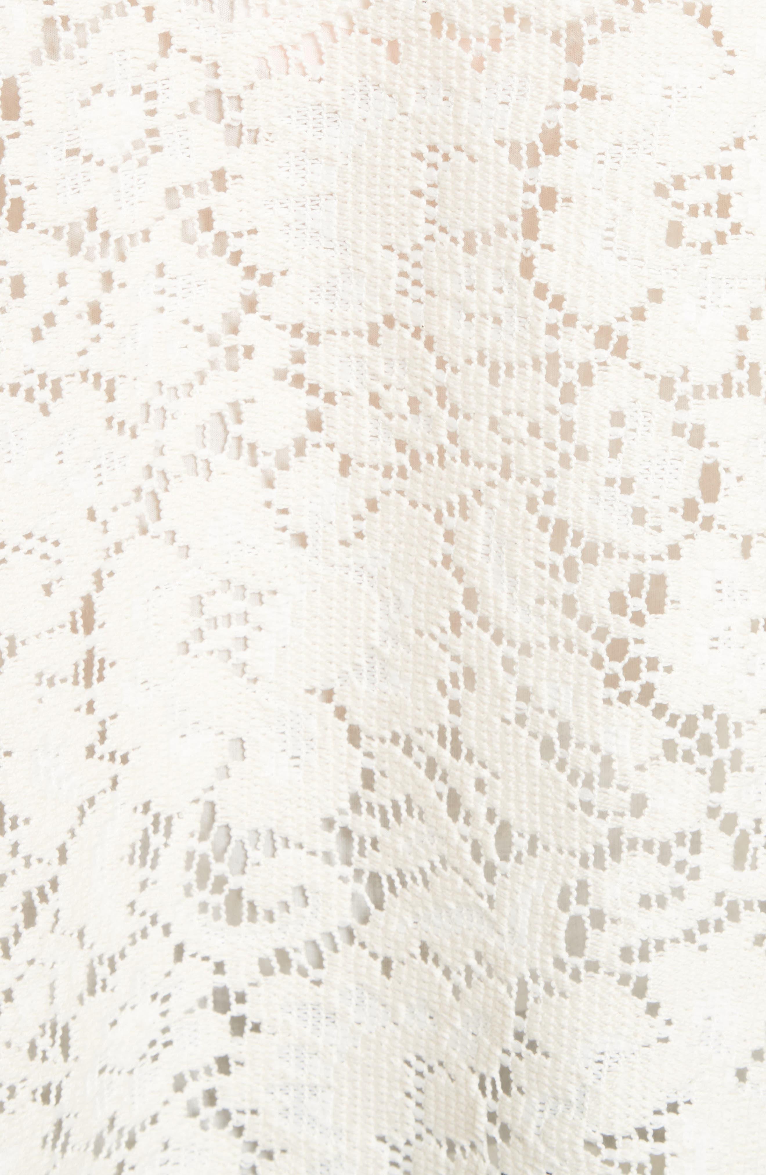 Ruffle Lace Blouse,                             Alternate thumbnail 5, color,                             Natural White