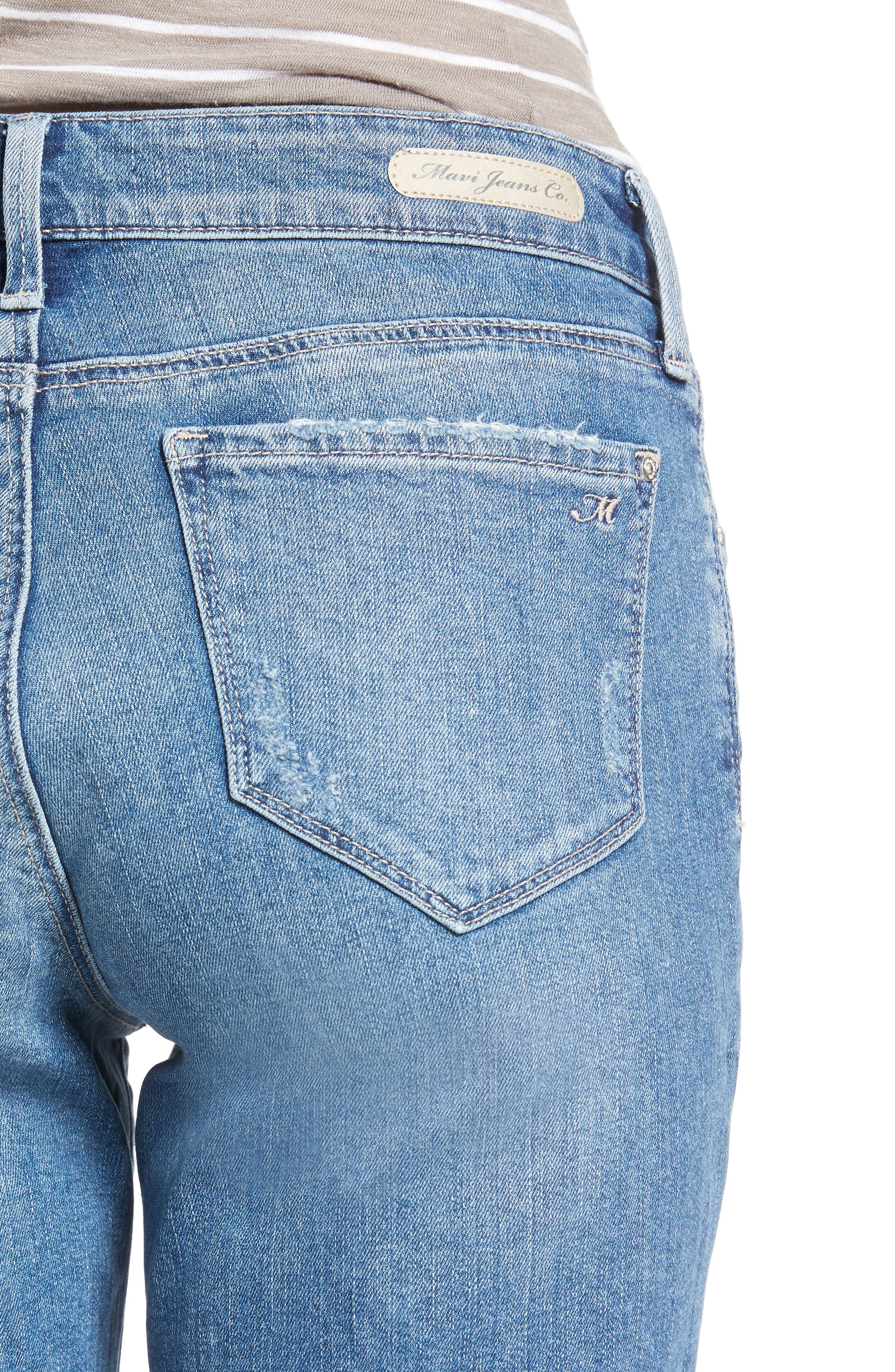 Alexis Ripped Denim Shorts,                             Alternate thumbnail 4, color,                             Mid Ripped