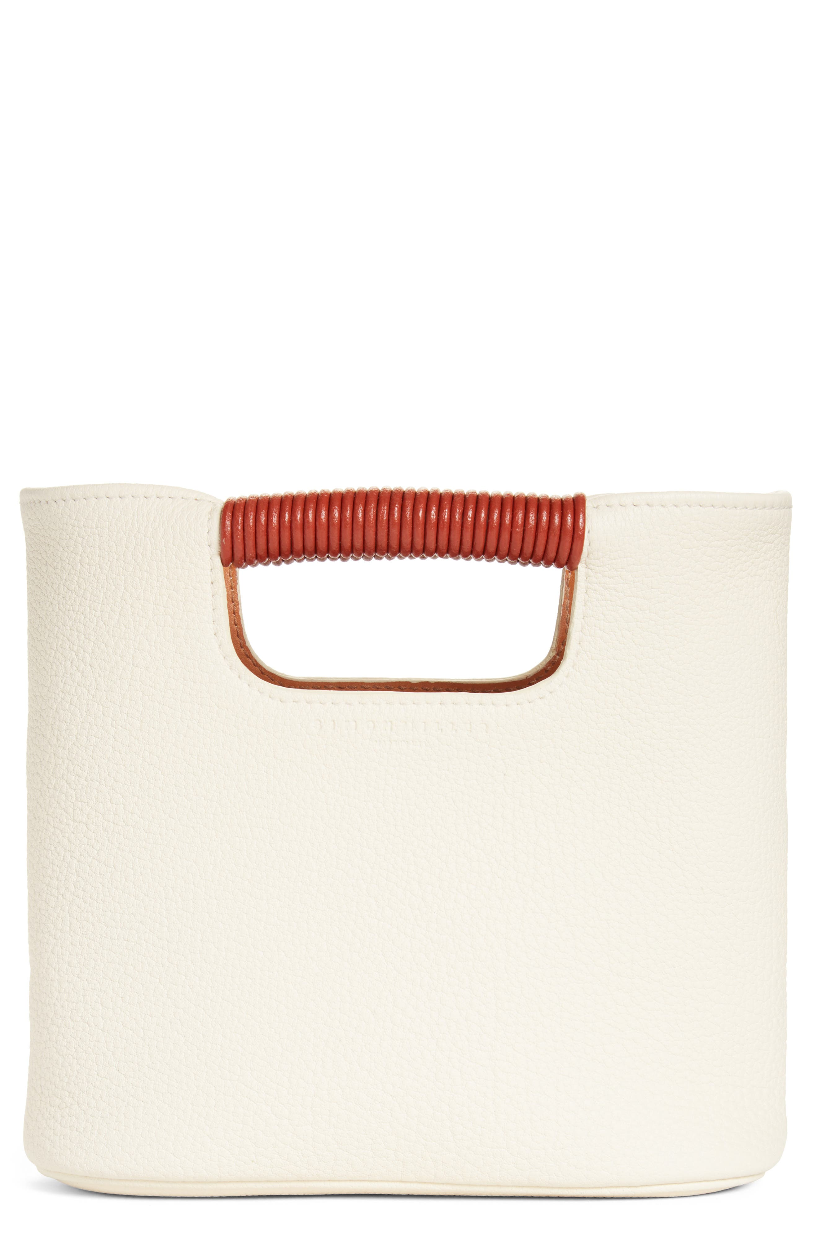 Mini Birch Leather Tote,                             Main thumbnail 1, color,                             Ivory