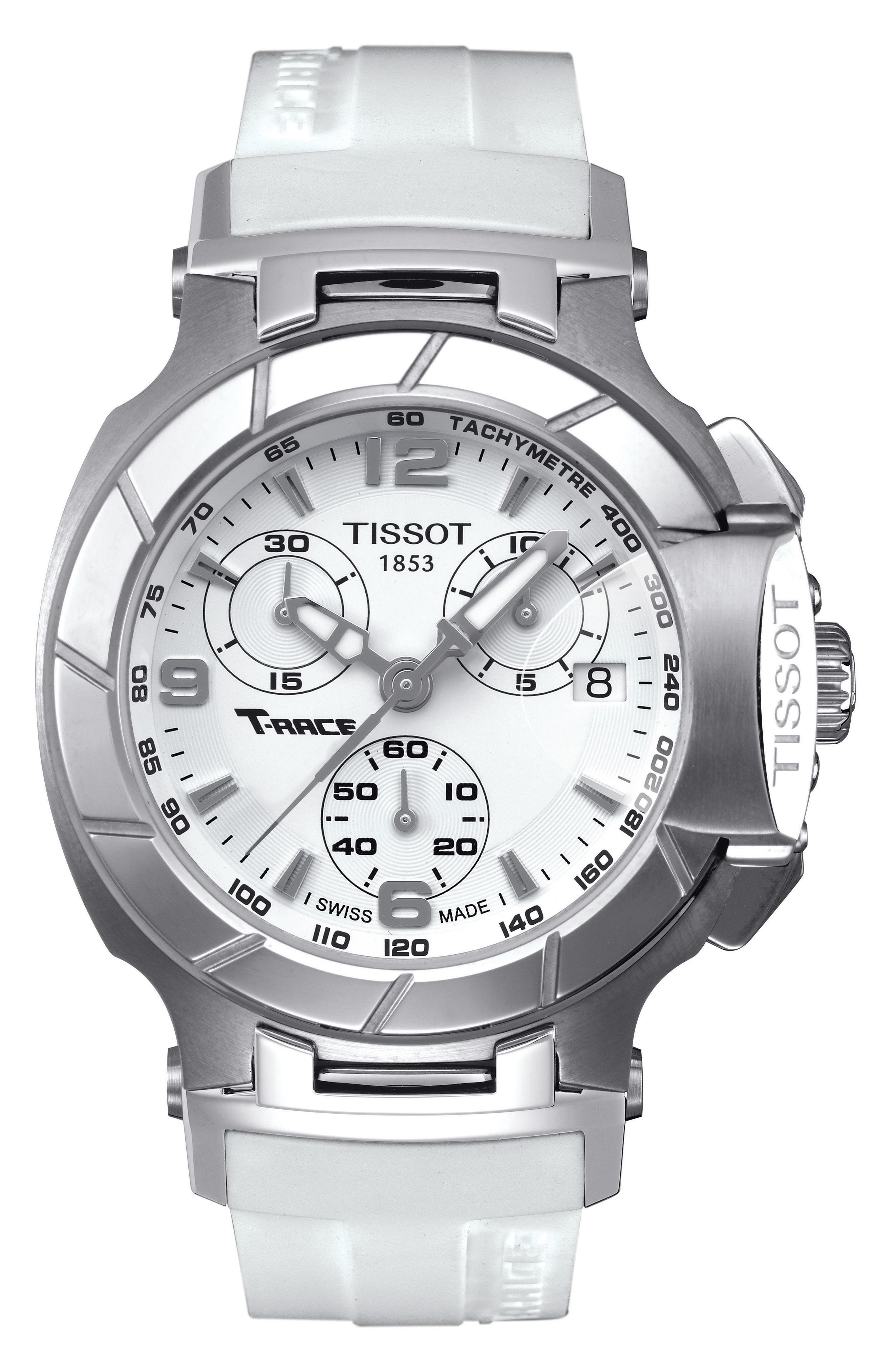 T-Race Chronograph Silicone Strap Watch, 40mm,                         Main,                         color, White/ Silver