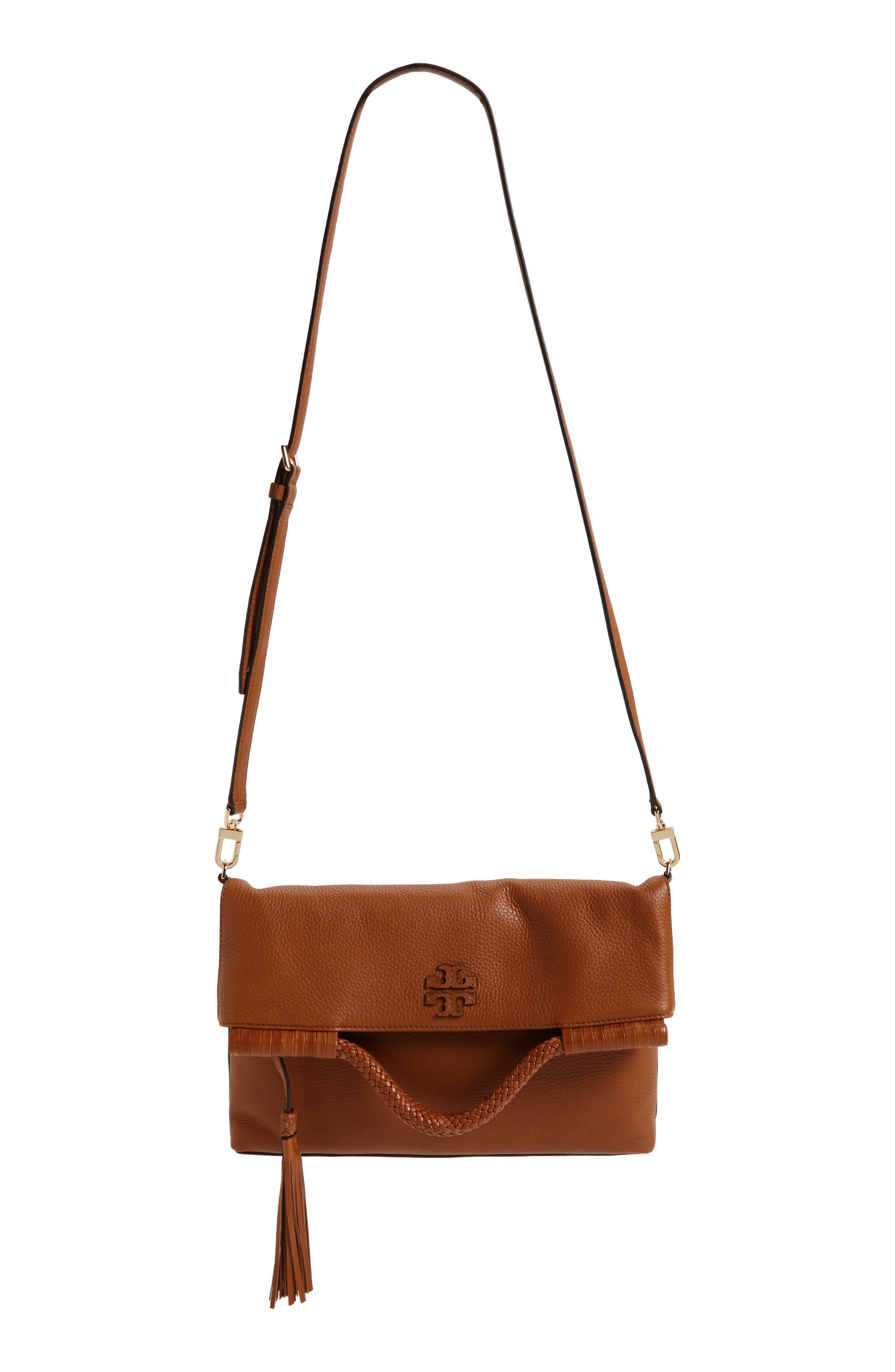 Convertible Leather Crossbody Bag,                         Main,                         color, Saddle