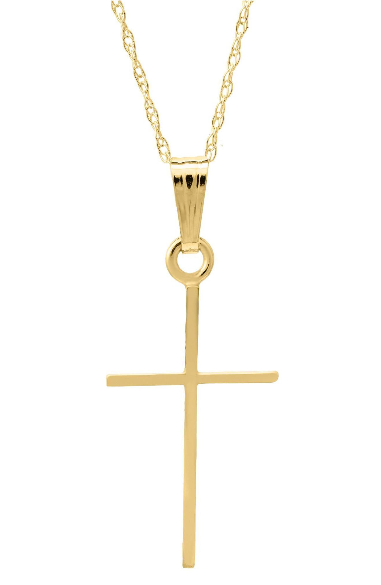 14k Gold Cross Pendant Necklace,                             Main thumbnail 1, color,                             Gold
