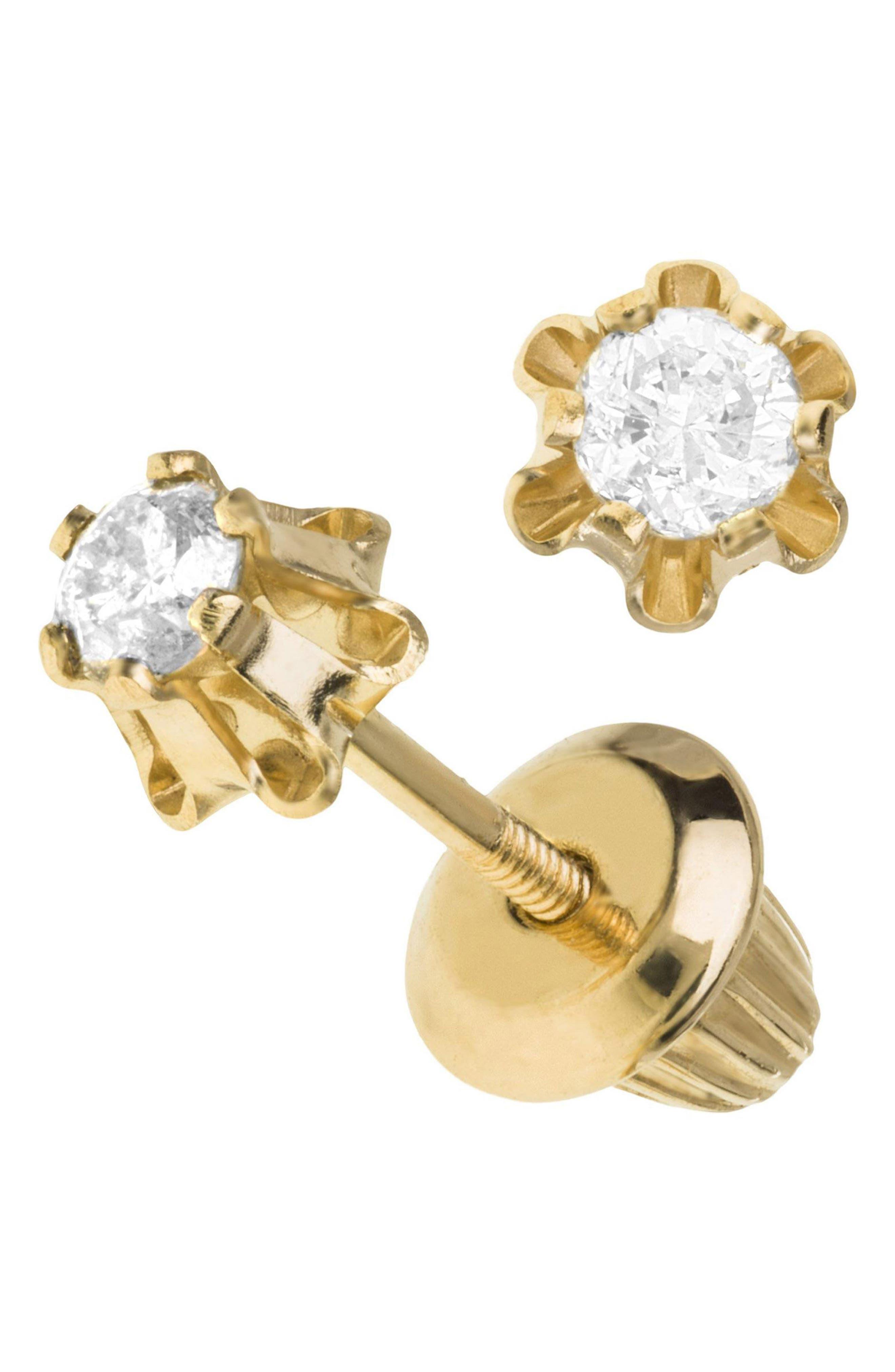 14k Gold & Diamond Earrings,                             Alternate thumbnail 2, color,                             Gold
