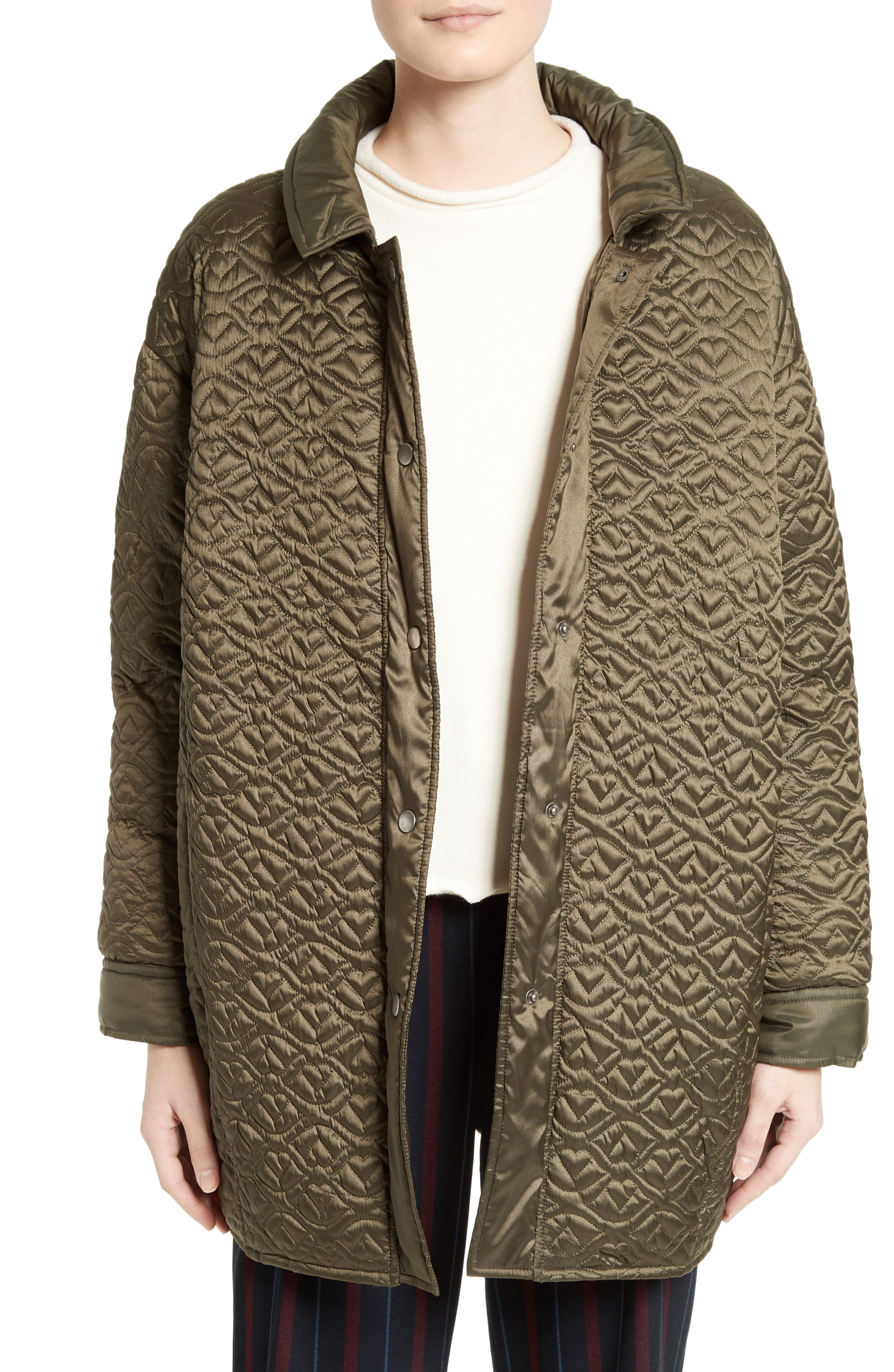 Quilted Coat,                         Main,                         color, Army Green