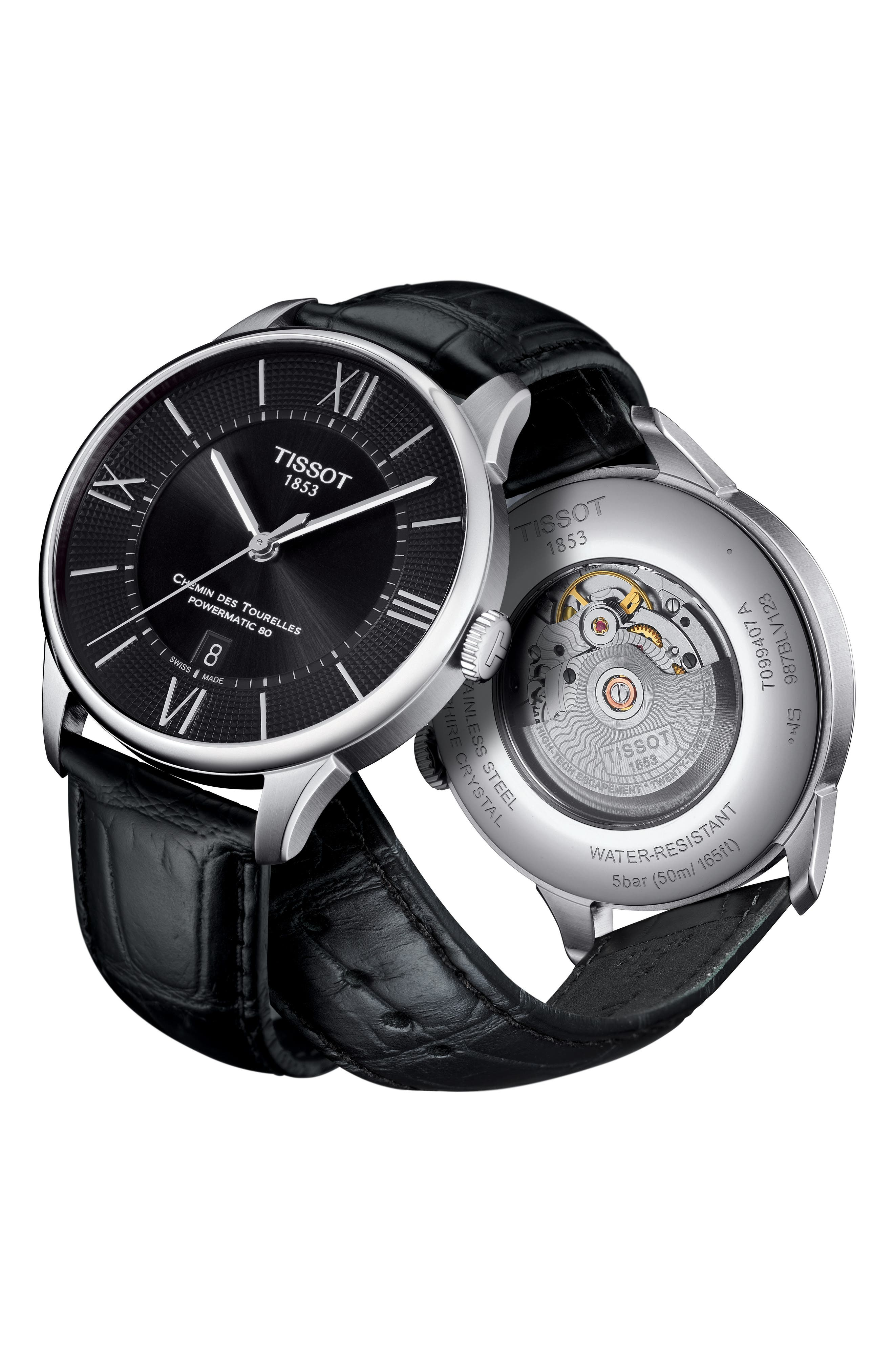 Alternate Image 2  - Tissot Chemin Des Tourelles Automatic Leather Strap Watch, 42mm