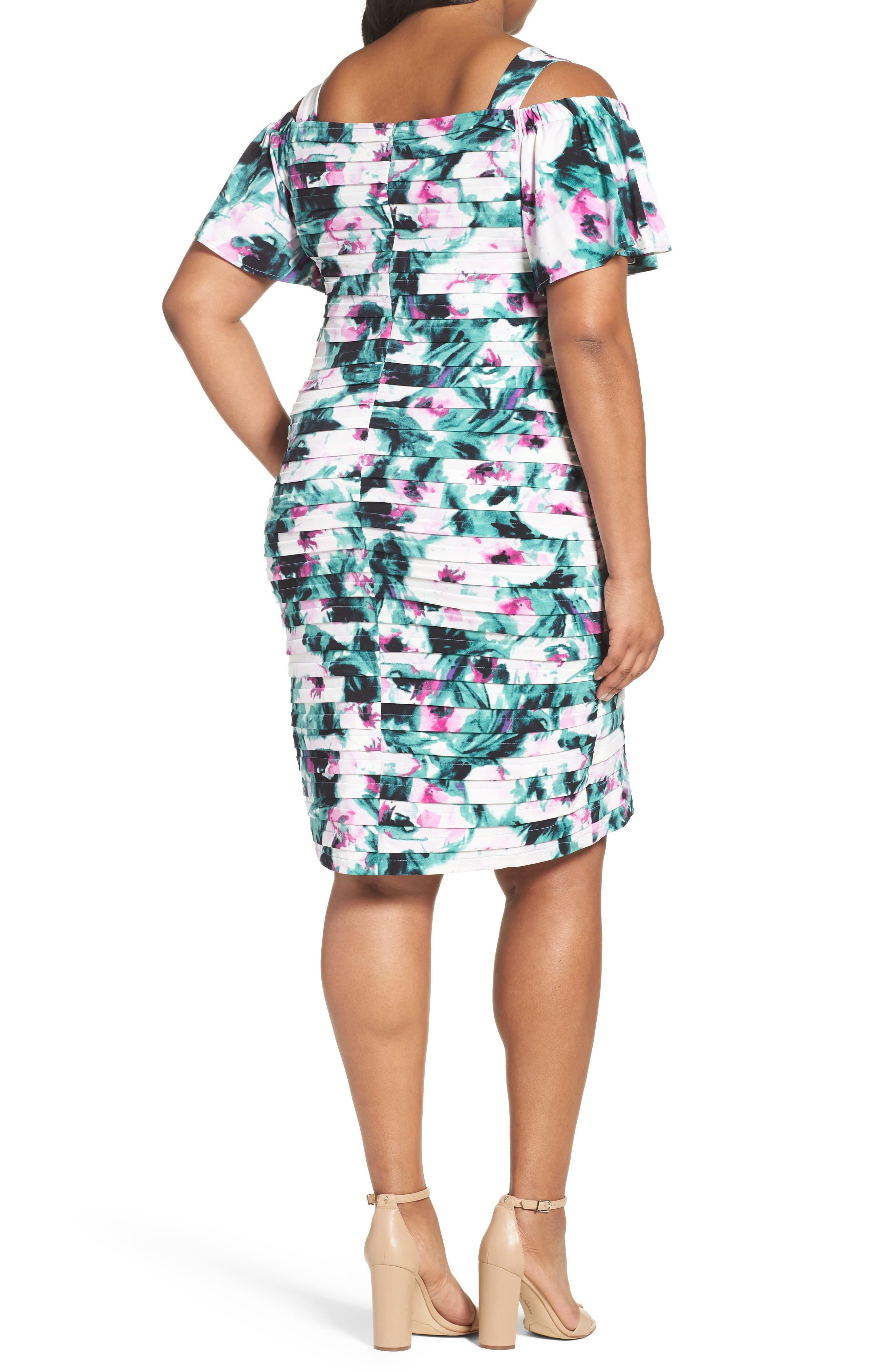 Cold Shoulder Shutter Pleat Sheath Dress,                             Alternate thumbnail 2, color,                             Multi