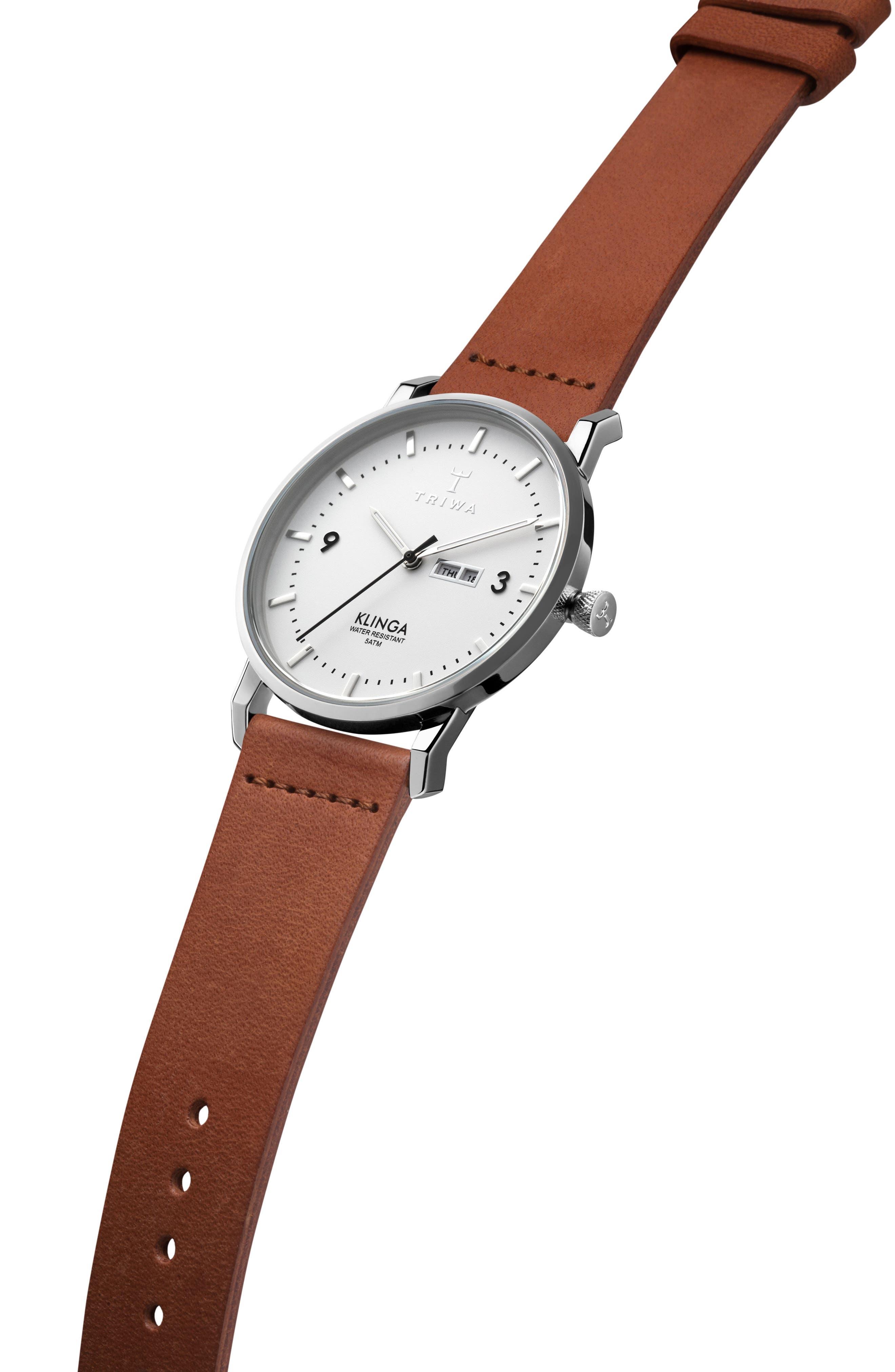 Snow Klinga Leather Strap Watch, 38mm,                             Alternate thumbnail 3, color,                             Brown/ White/ Silver