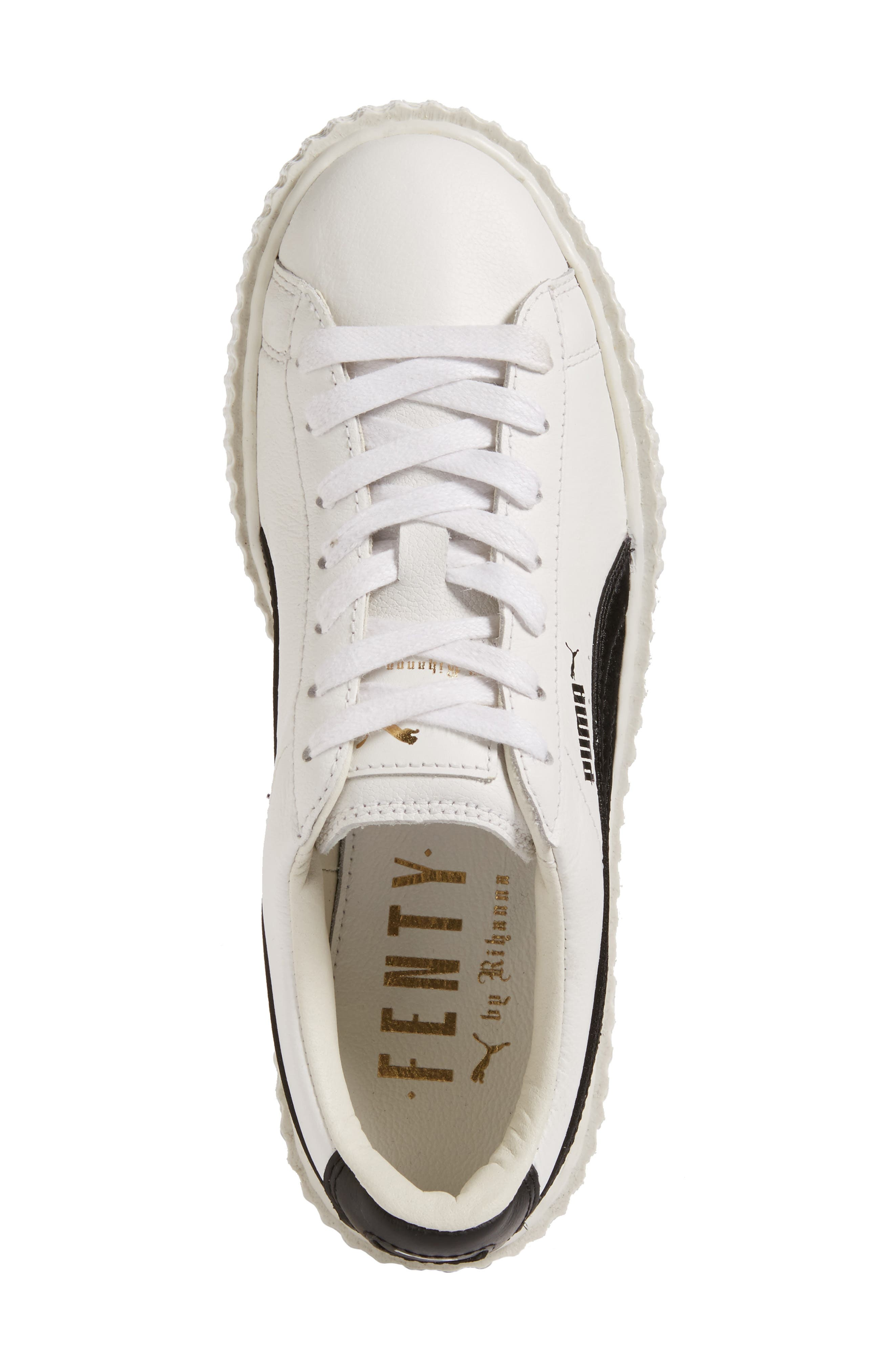 FENTY PUMA by Rihanna Creeper Sneaker,                             Alternate thumbnail 5, color,                             White Leather