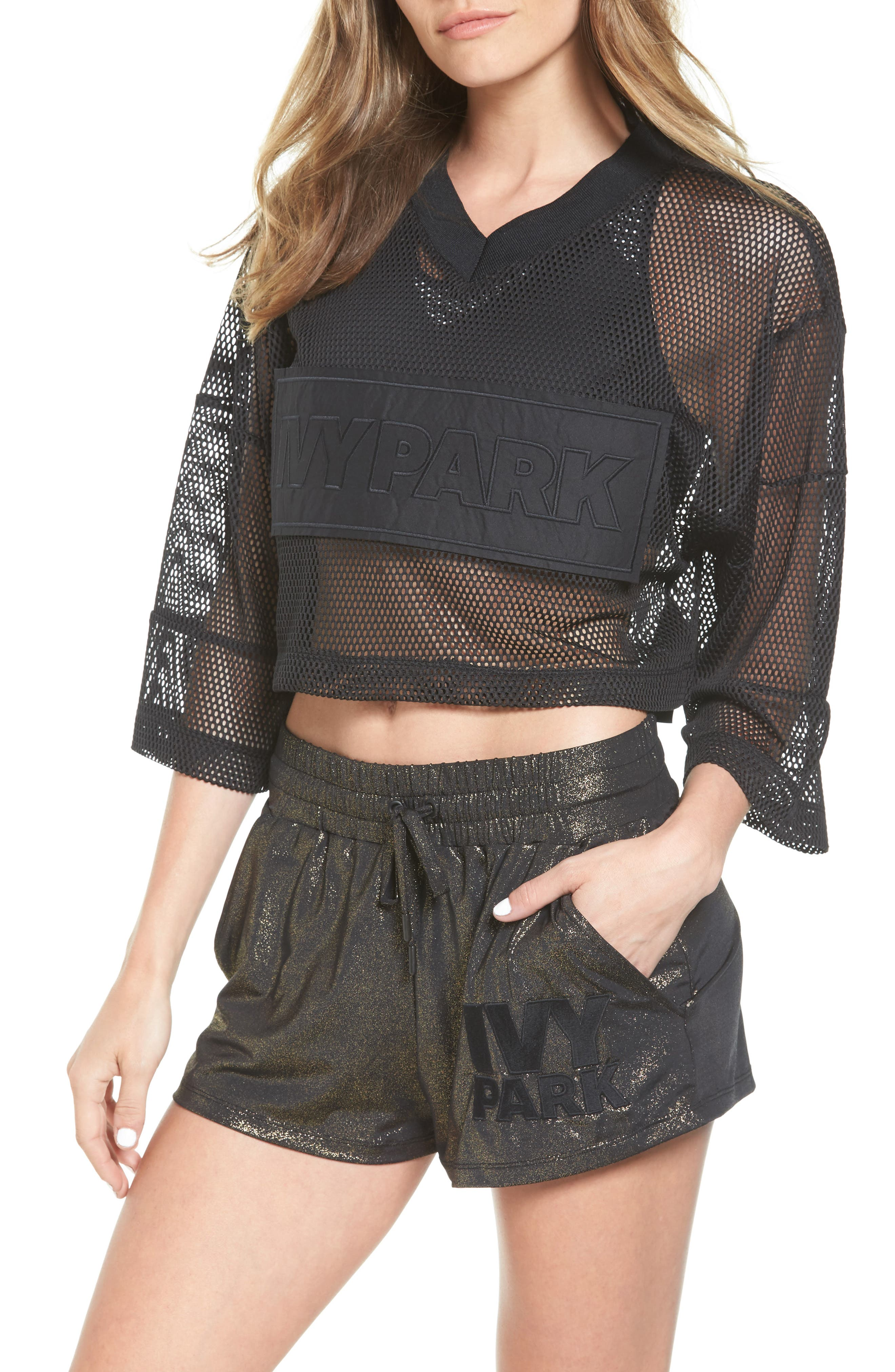 IVY PARK® Satin & Mesh Crop Top