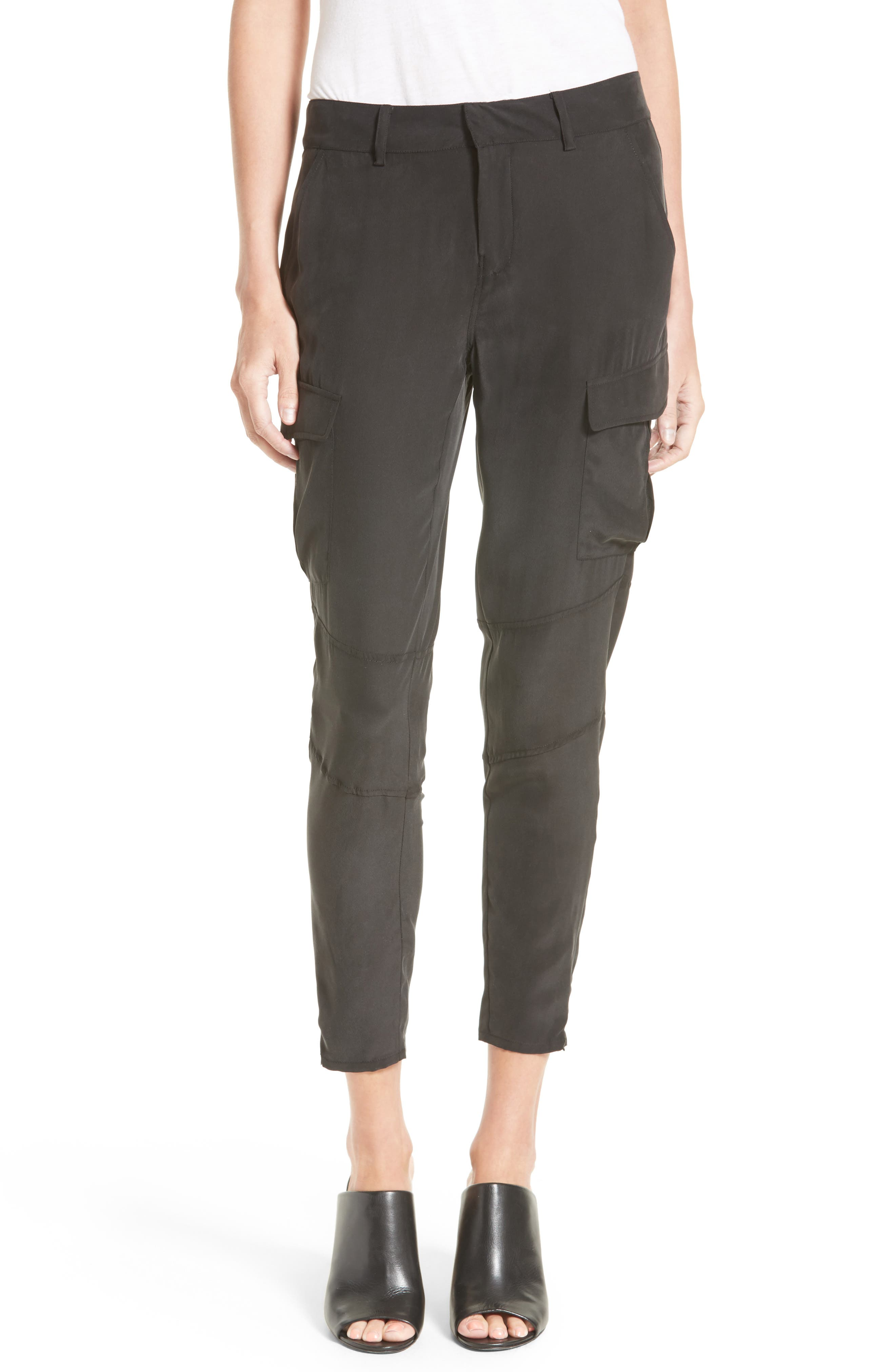 Bevin Silk Crop Cargo Pants,                             Main thumbnail 1, color,                             Black