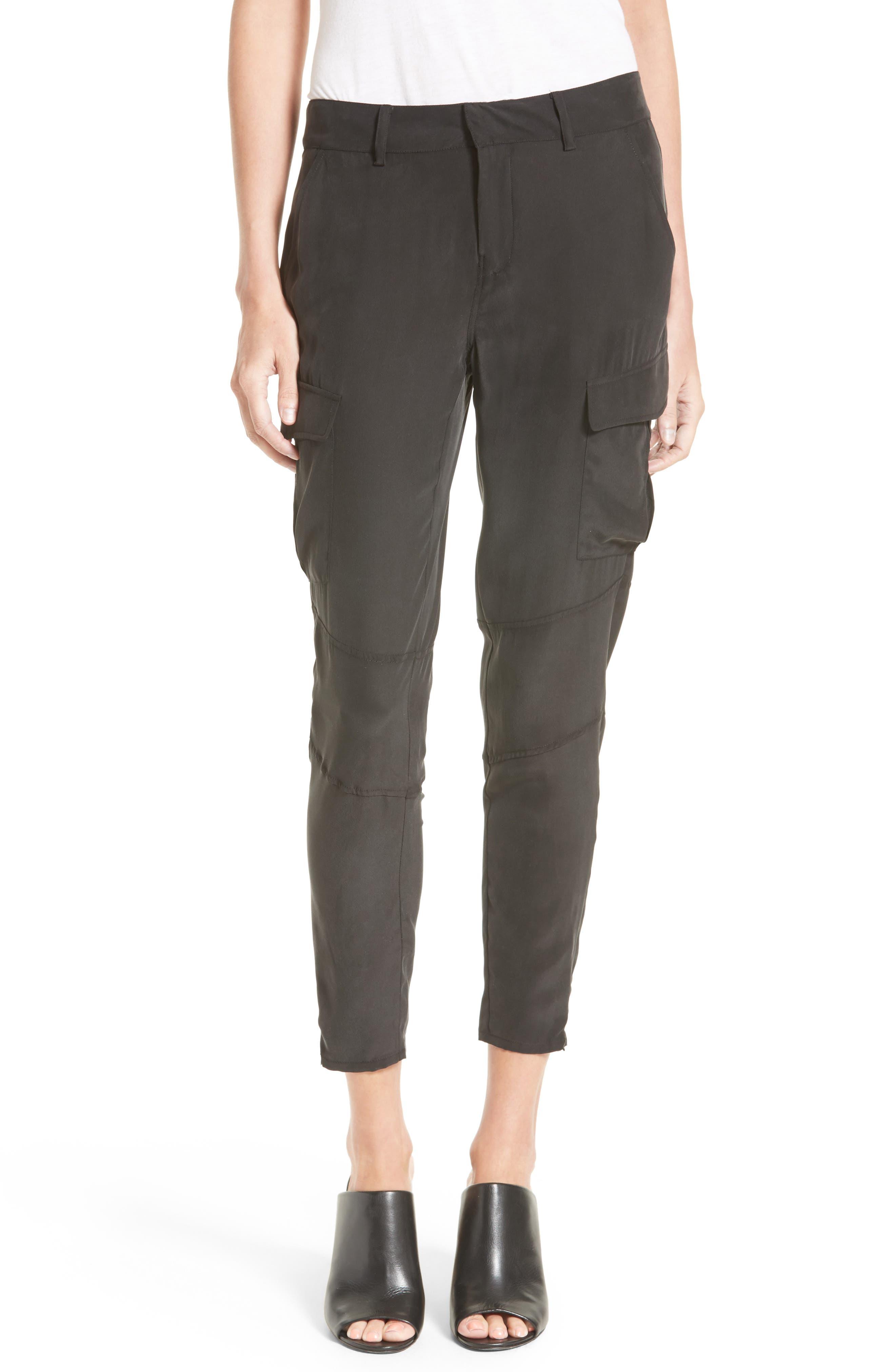Bevin Silk Crop Cargo Pants,                         Main,                         color, Black