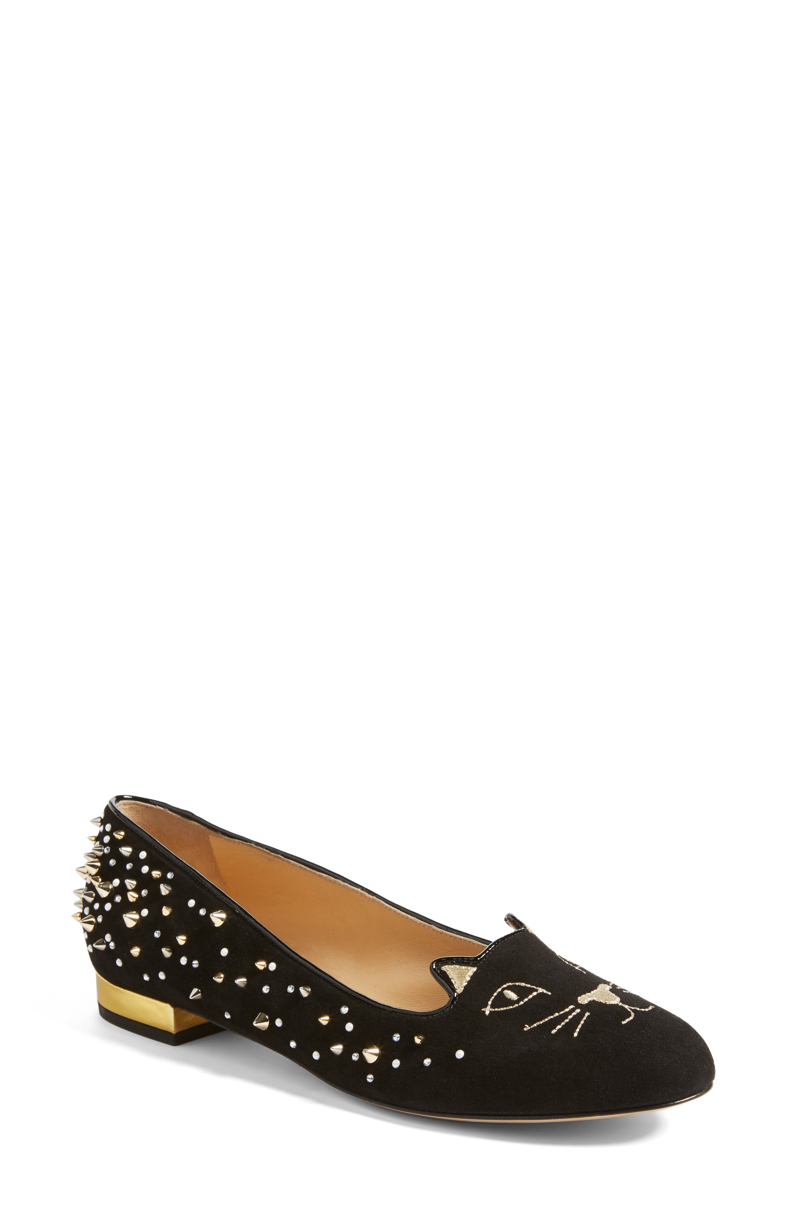 Charlotte Olympia Kitty Studded Flat(Women)