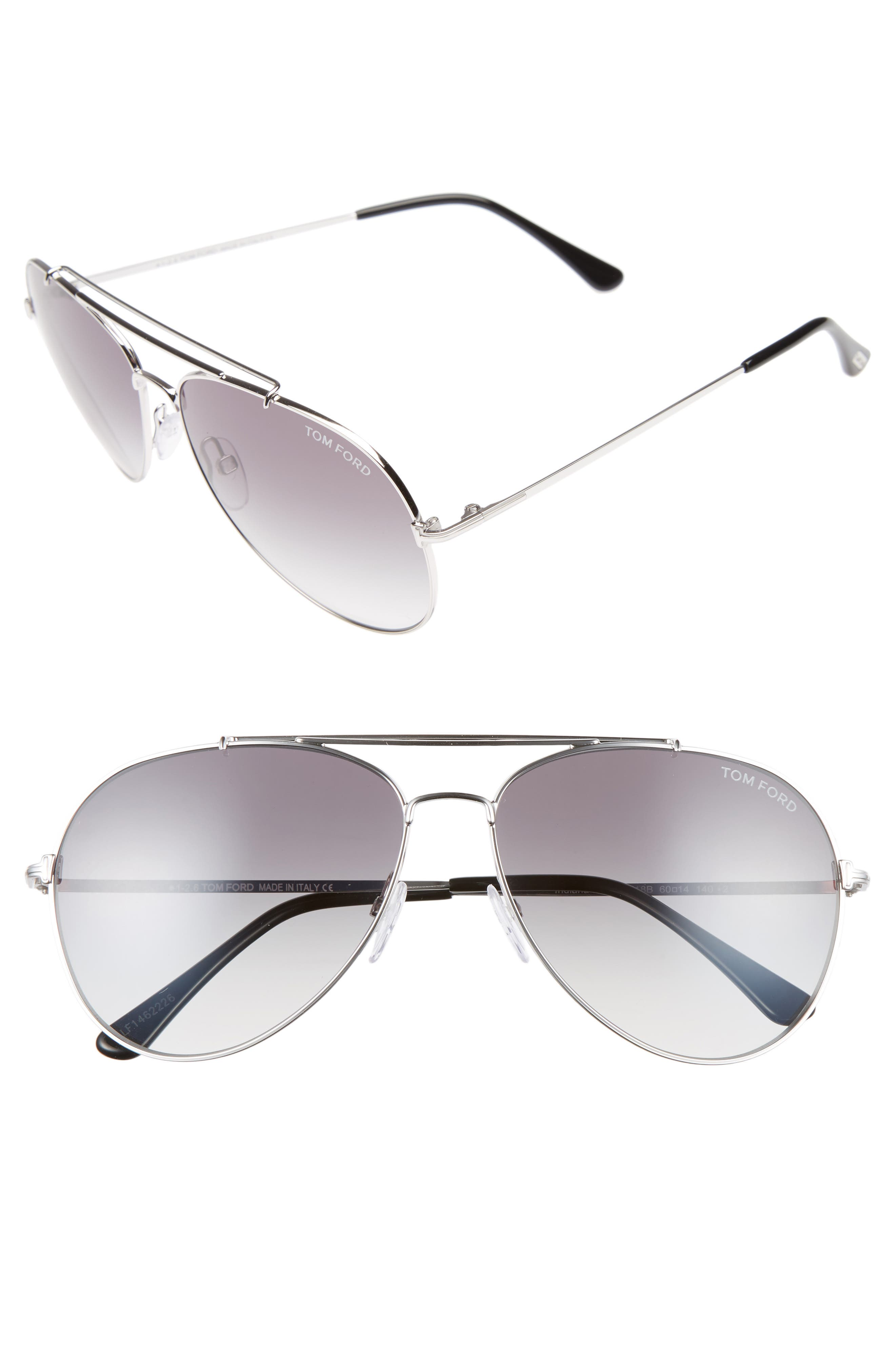 Indiana 60mm Aviator Sunglasses,                             Main thumbnail 1, color,                             Rhodium/ Black/ Gradient Smoke