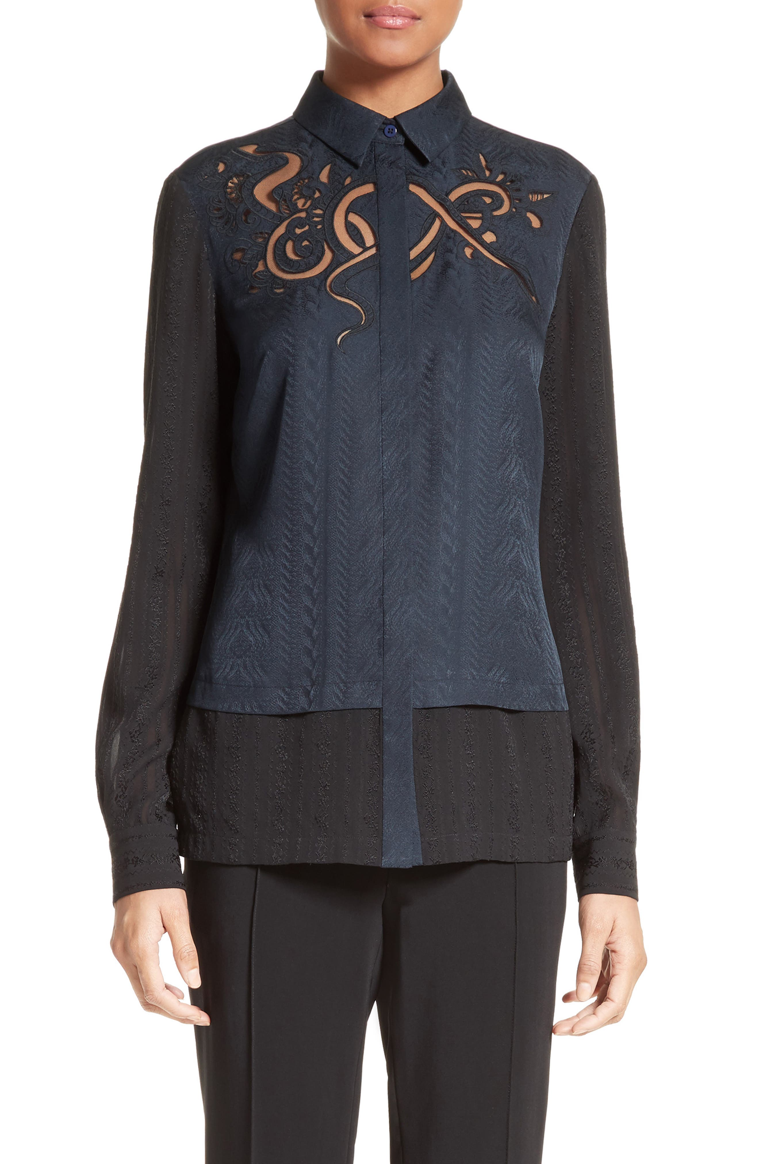 Embroidered Silk Jacquard Blouse,                             Main thumbnail 1, color,                             Midnight