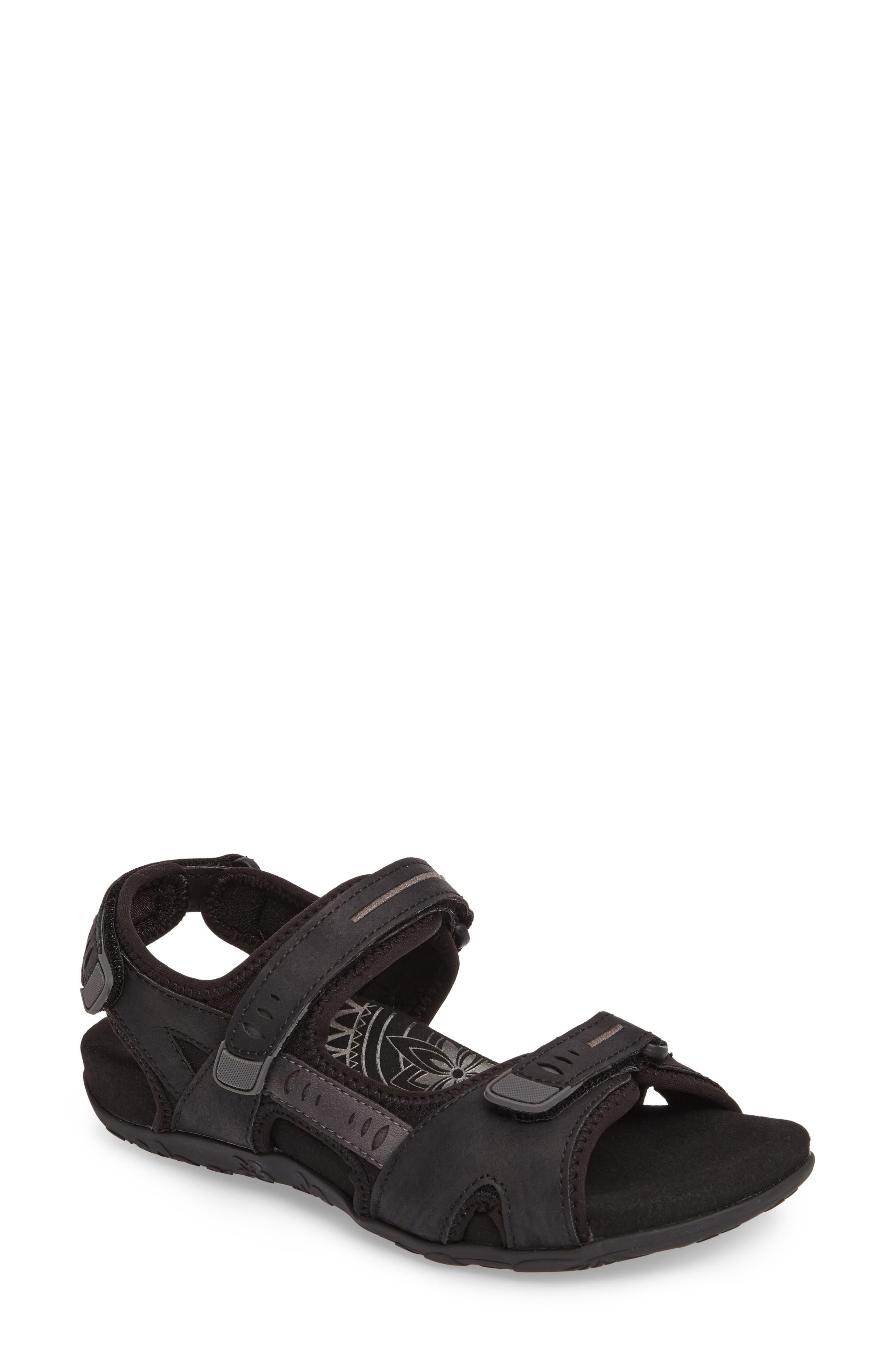 Bree Sport Sandal,                             Main thumbnail 1, color,                             Black Fabric