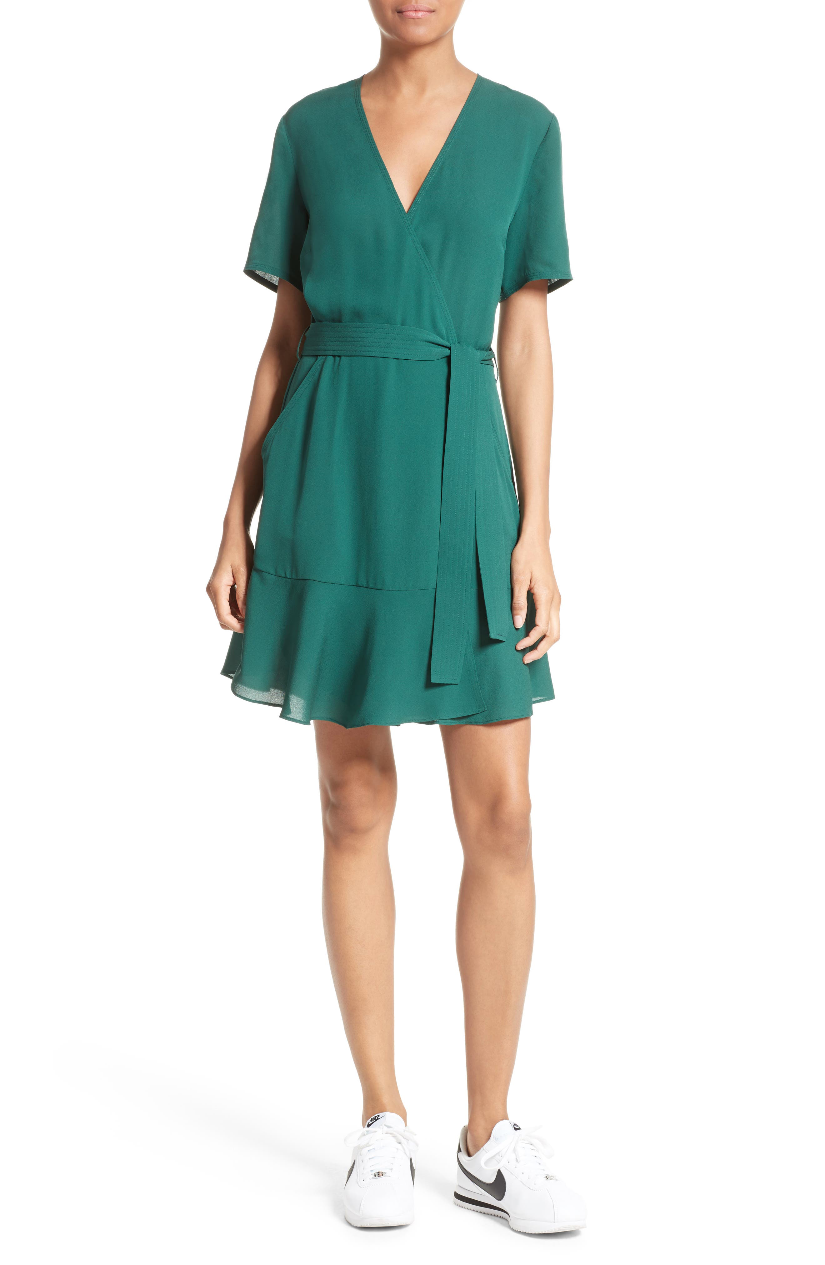 Micah Silk Wrap Dress,                         Main,                         color, Pine
