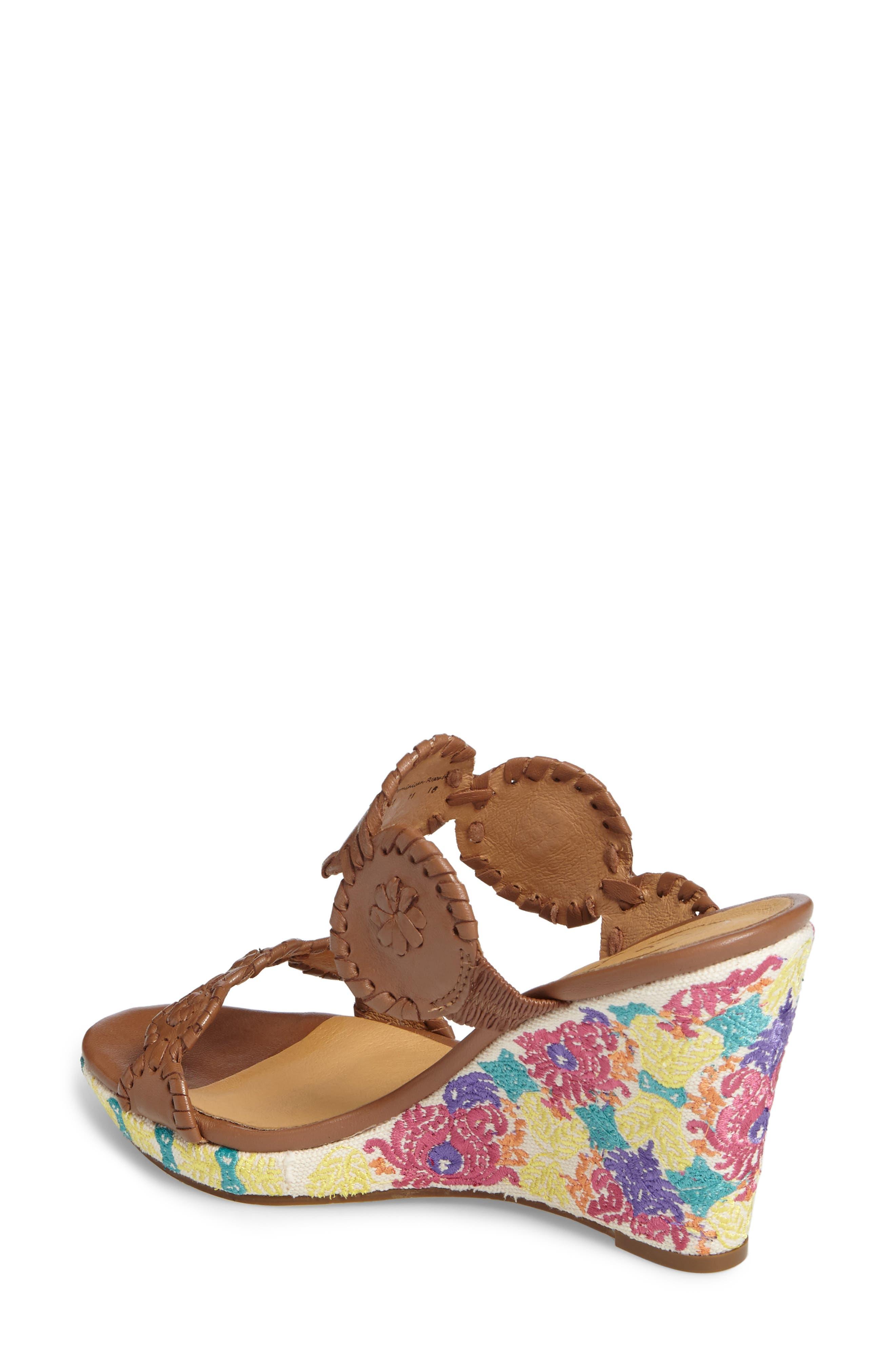 Livvy Wedge Slide Sandal,                             Alternate thumbnail 2, color,                             Cognac Leather