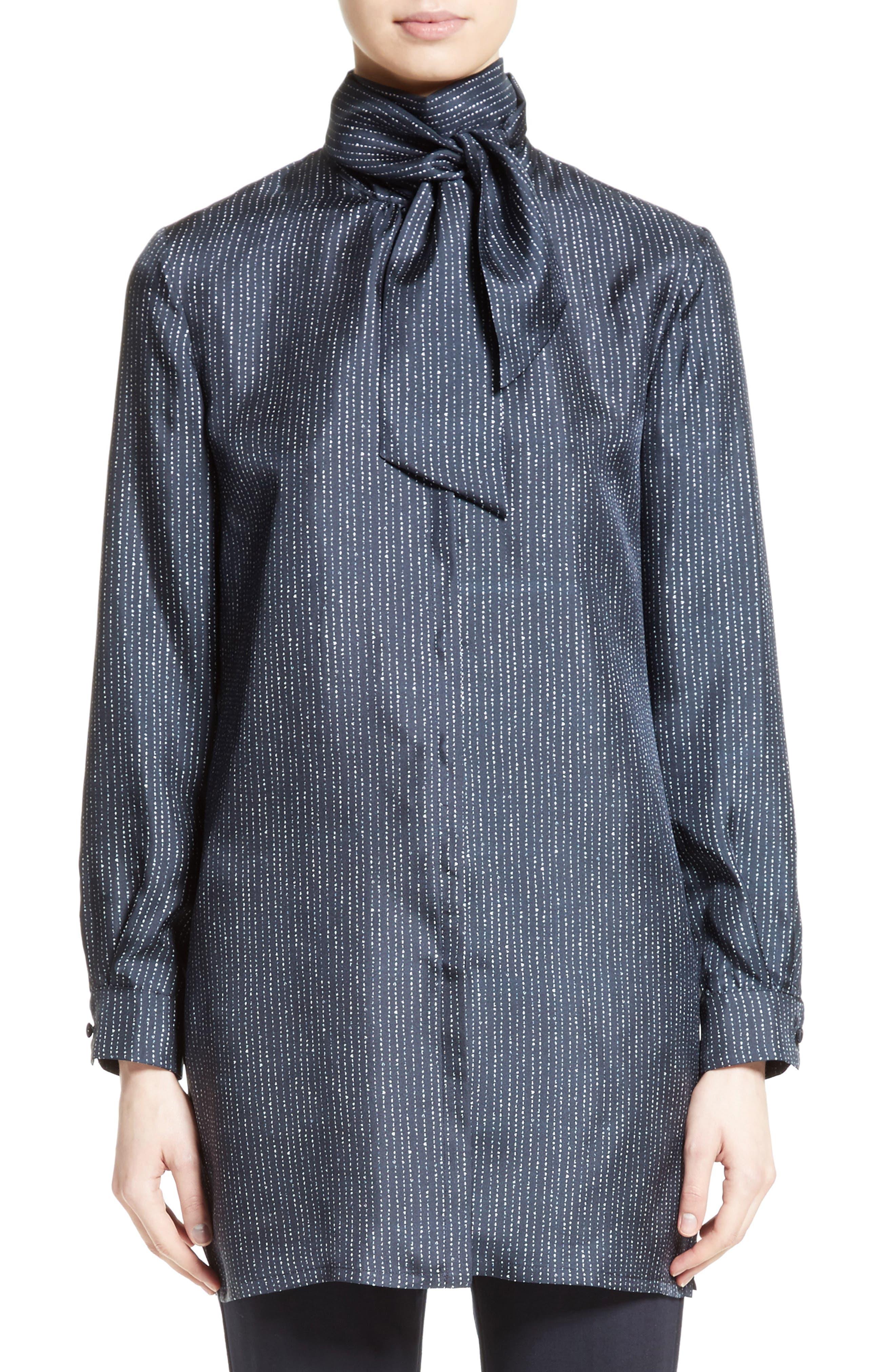 Main Image - Max Mara Anzio Silk Tie Neck Tunic