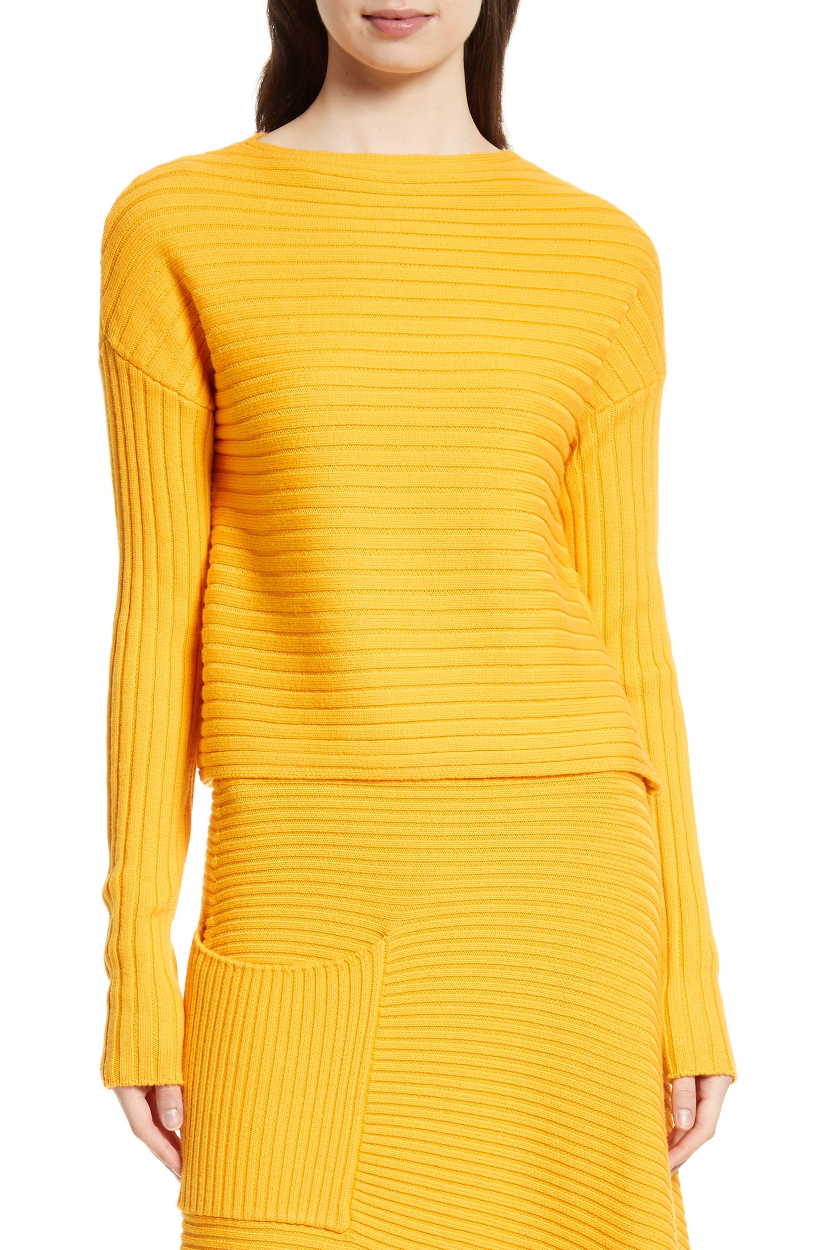 Ribbed Wool Sweater,                         Main,                         color, Marmalade