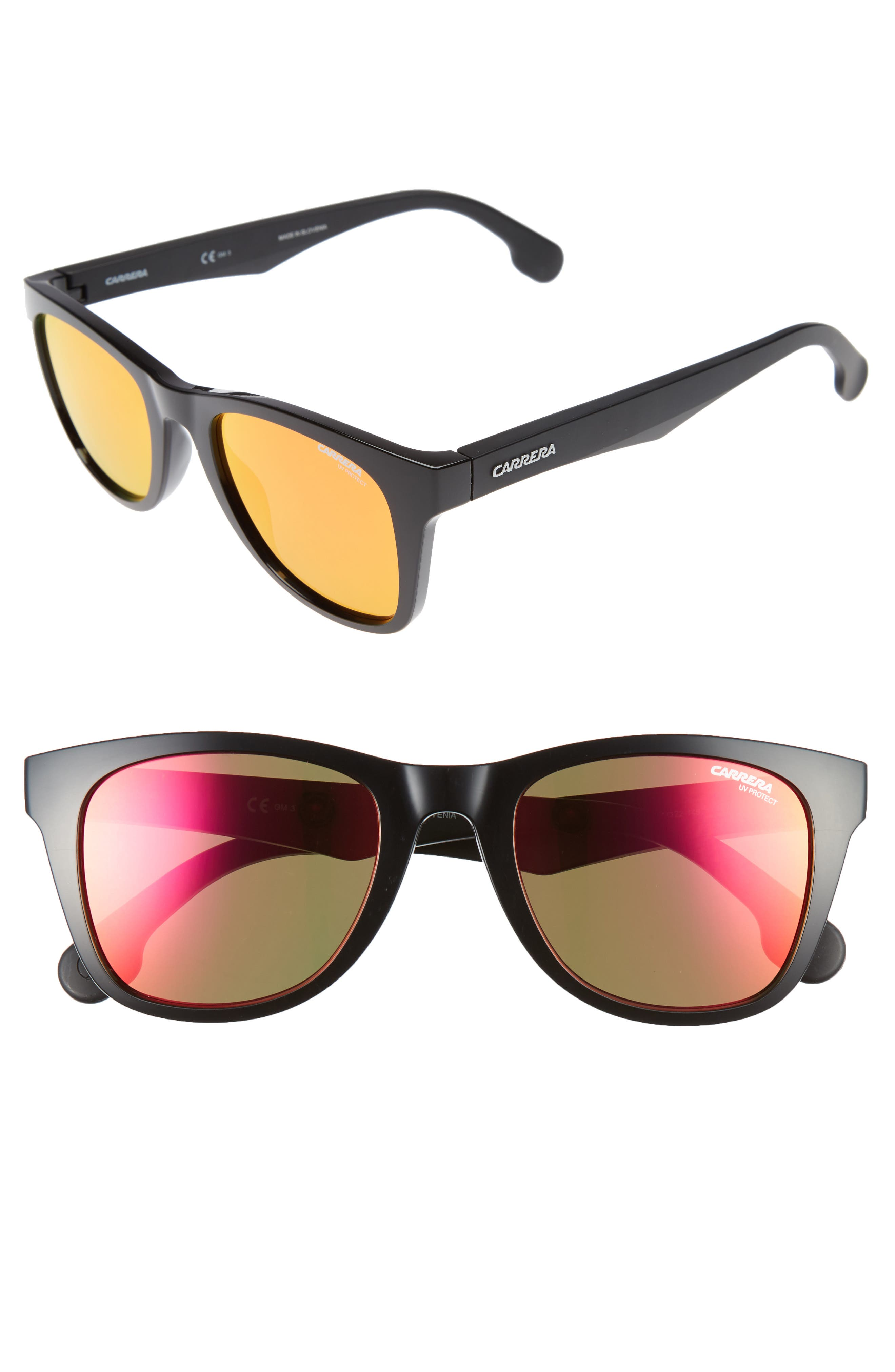 51mm Sunglasses,                             Main thumbnail 1, color,                             Black Metalized/ Red