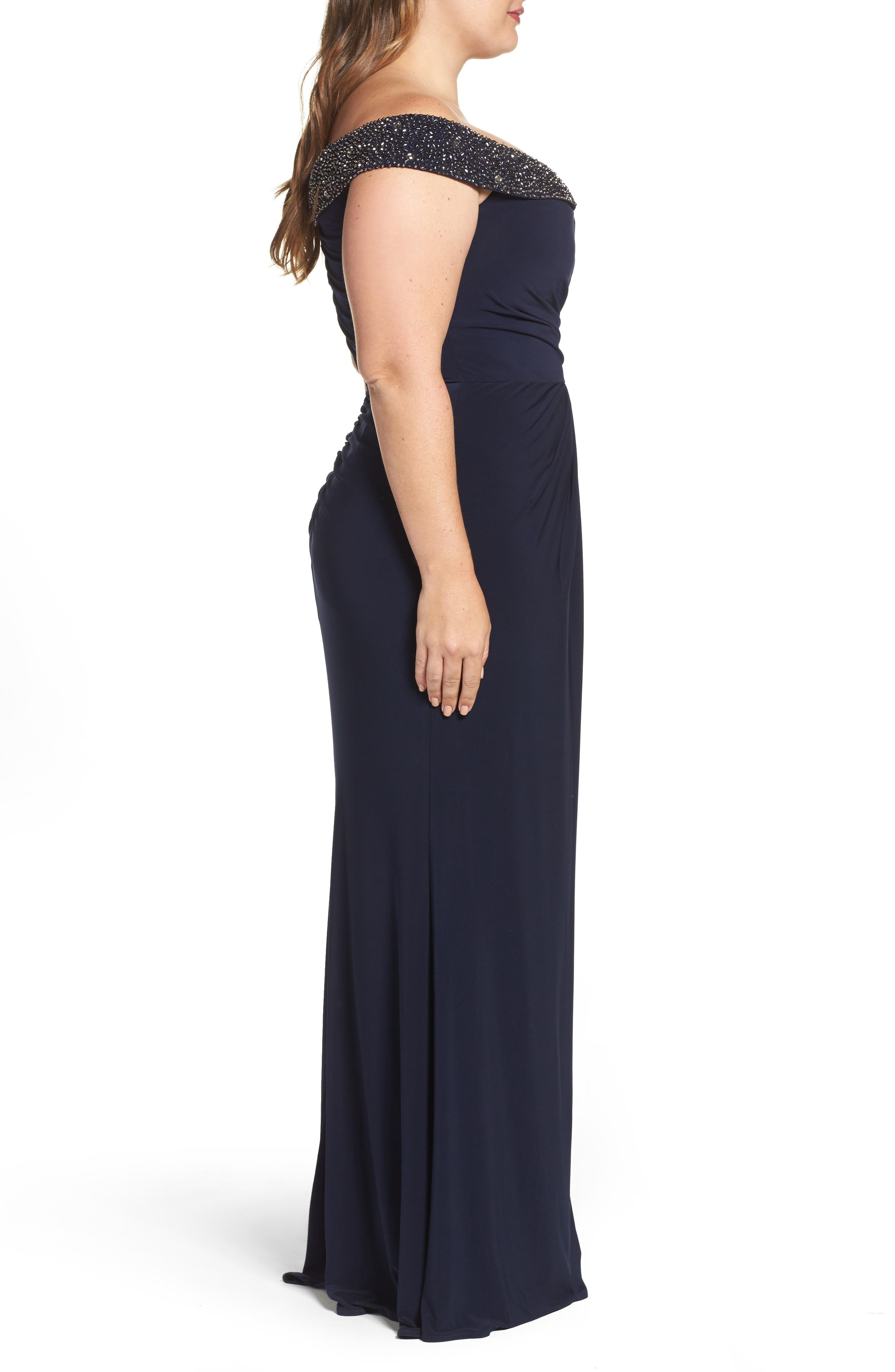Alternate Image 3  - Xscape Embellished Off the Shoulder Gown (Plus Size)