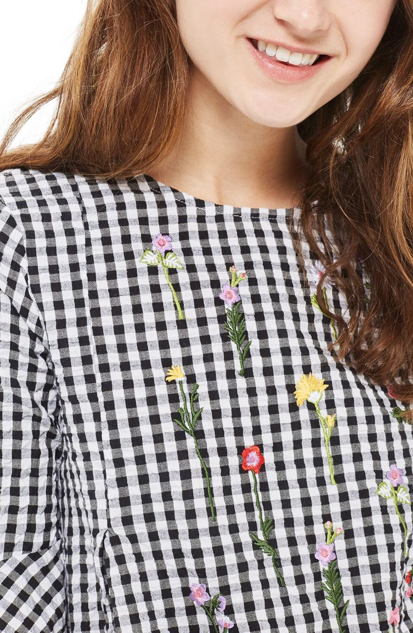 Alternate Image 4  - Topshop Embroidered Gingham Top