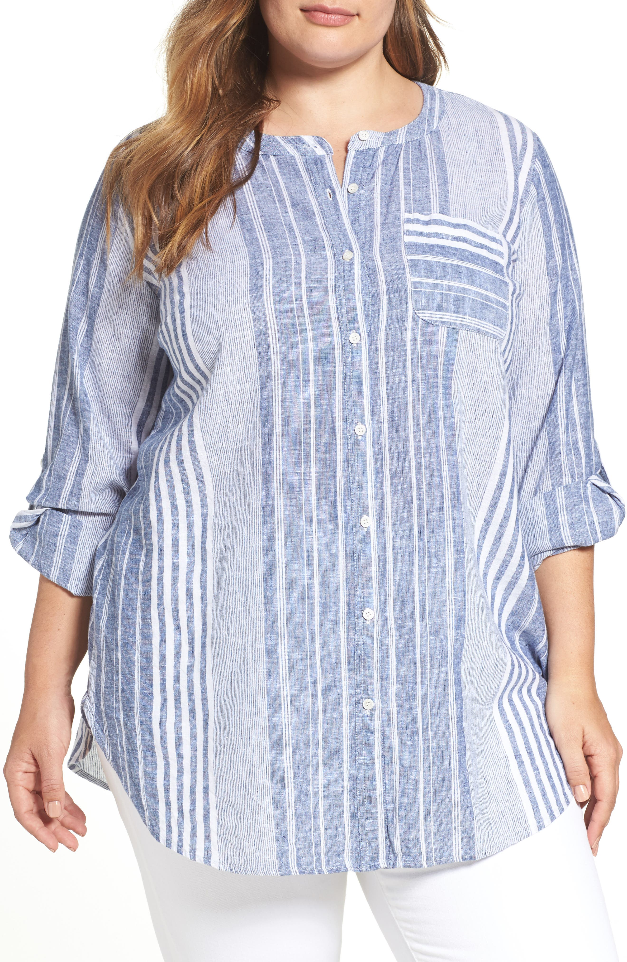 Main Image - Two by Vince Camuto Variegated Stripe Linen Blend Tunic (Plus Size)