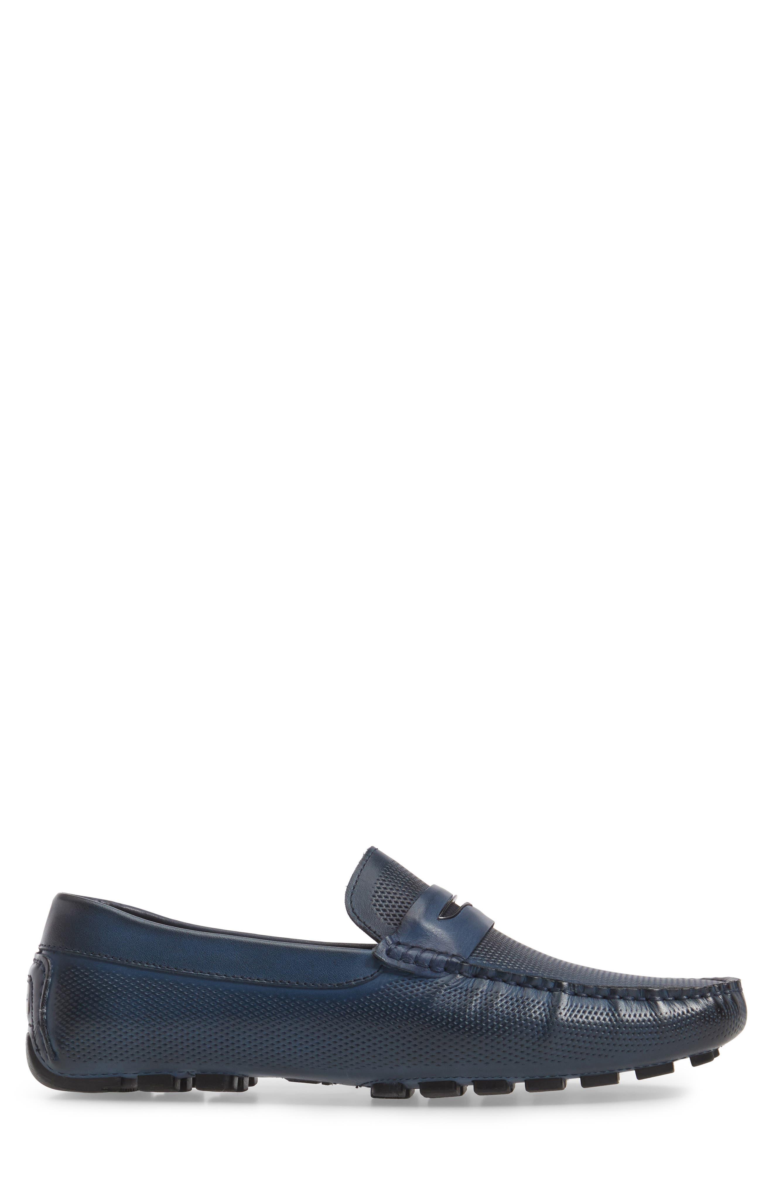 Mondrian Driving Shoe,                             Alternate thumbnail 3, color,                             Blue Leather