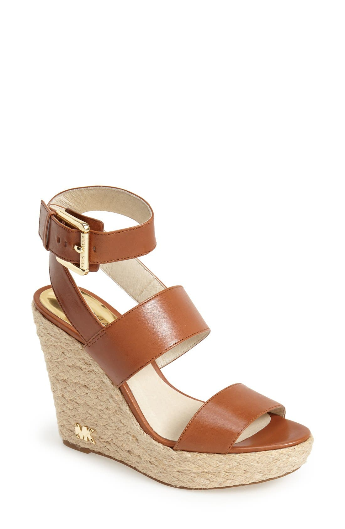 Alternate Image 1 Selected - MICHAEL Michael Kors 'Posey' Ankle Strap Espadrille Wedge Sandal (Women)