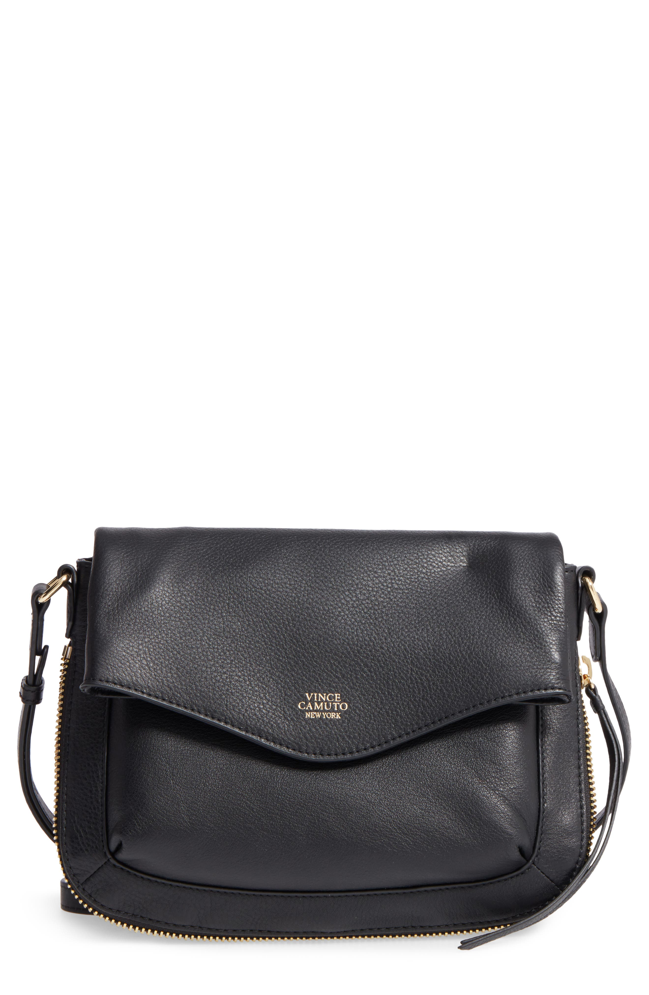 Dafni Leather Crossbody,                             Main thumbnail 1, color,                             Black