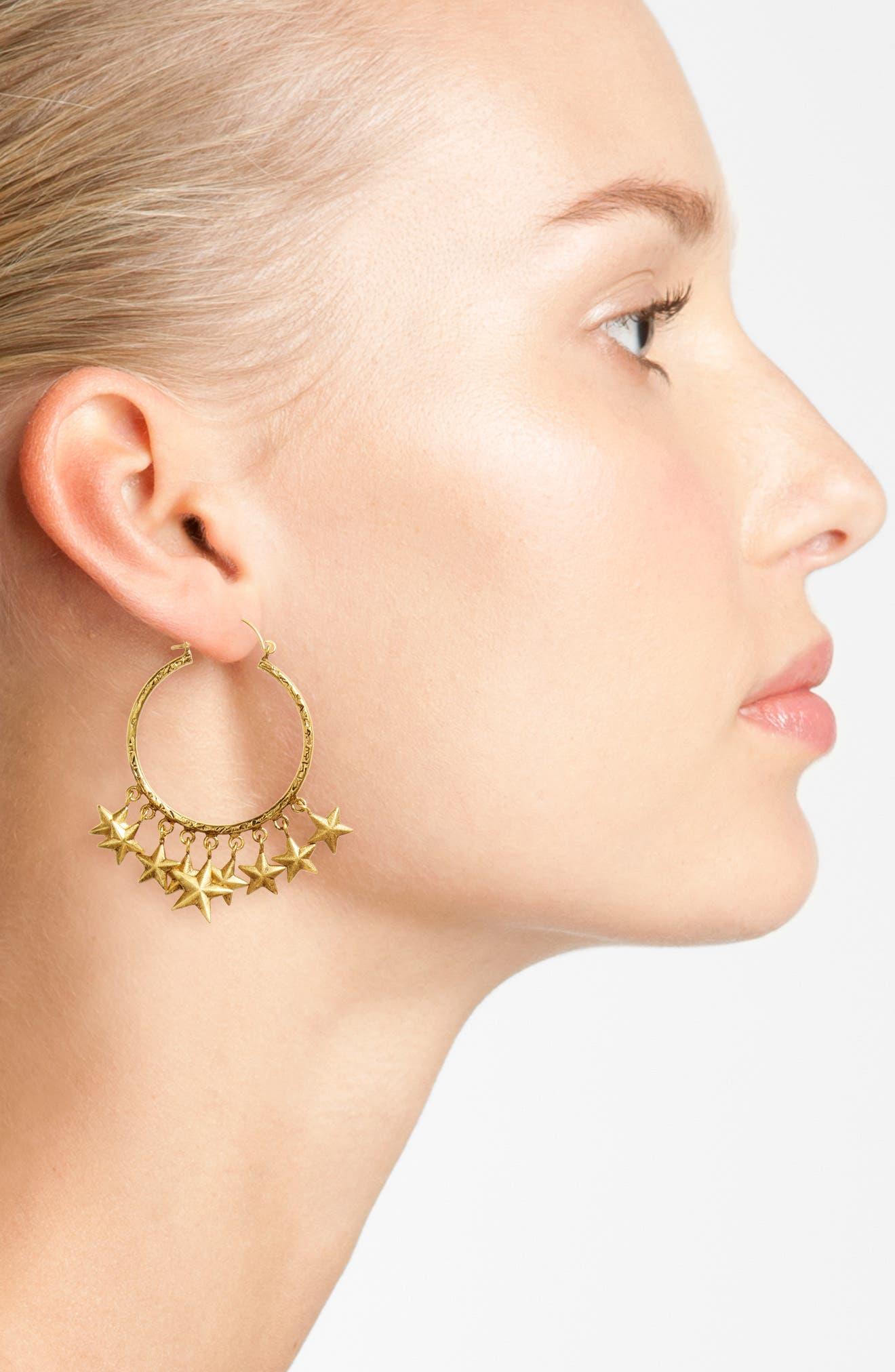 Alternate Image 2  - Virgins Saints & Angels Star Hoop Earrings