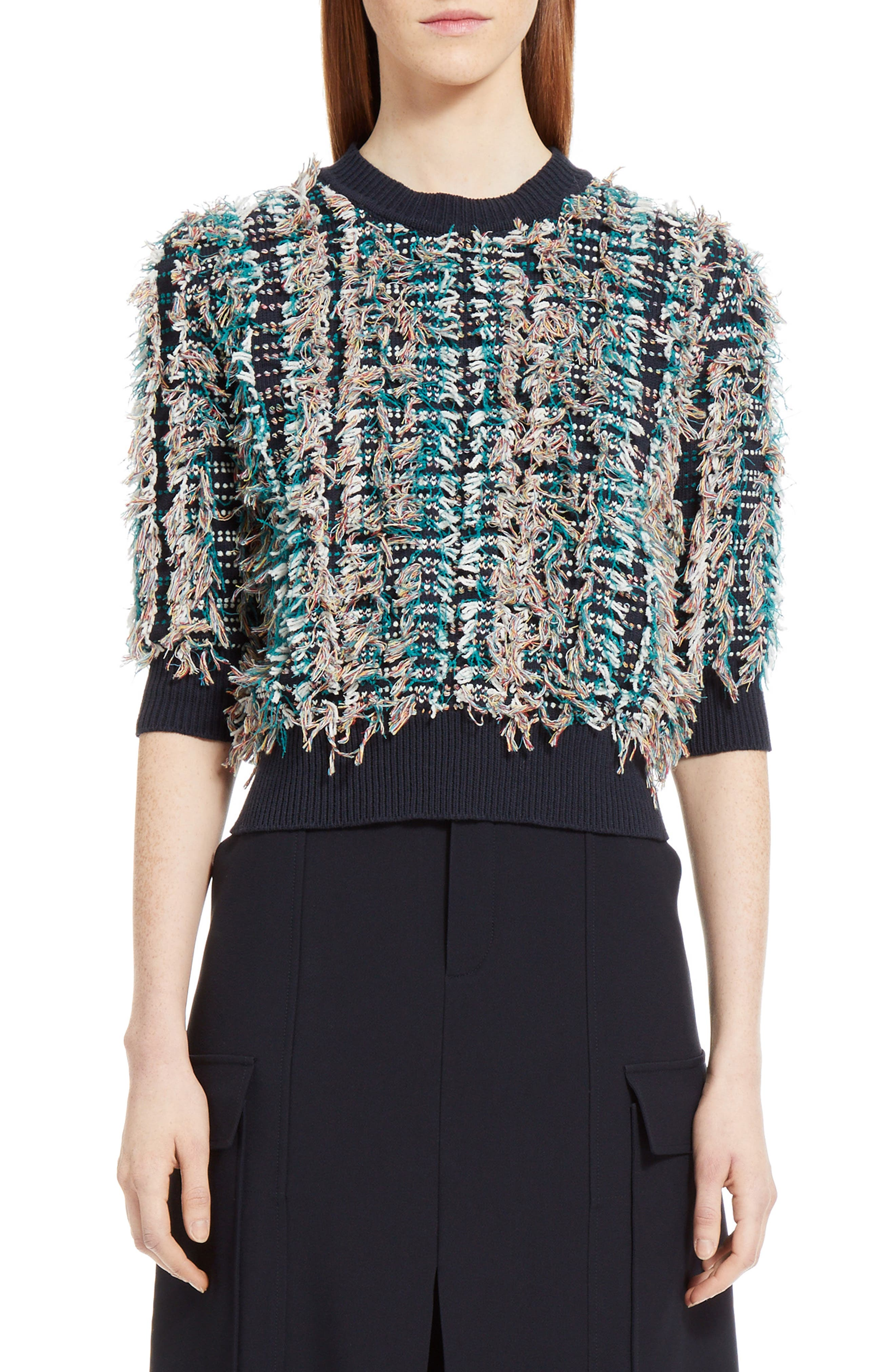 Fringe Knit Sweater,                         Main,                         color, Multicolor Navy