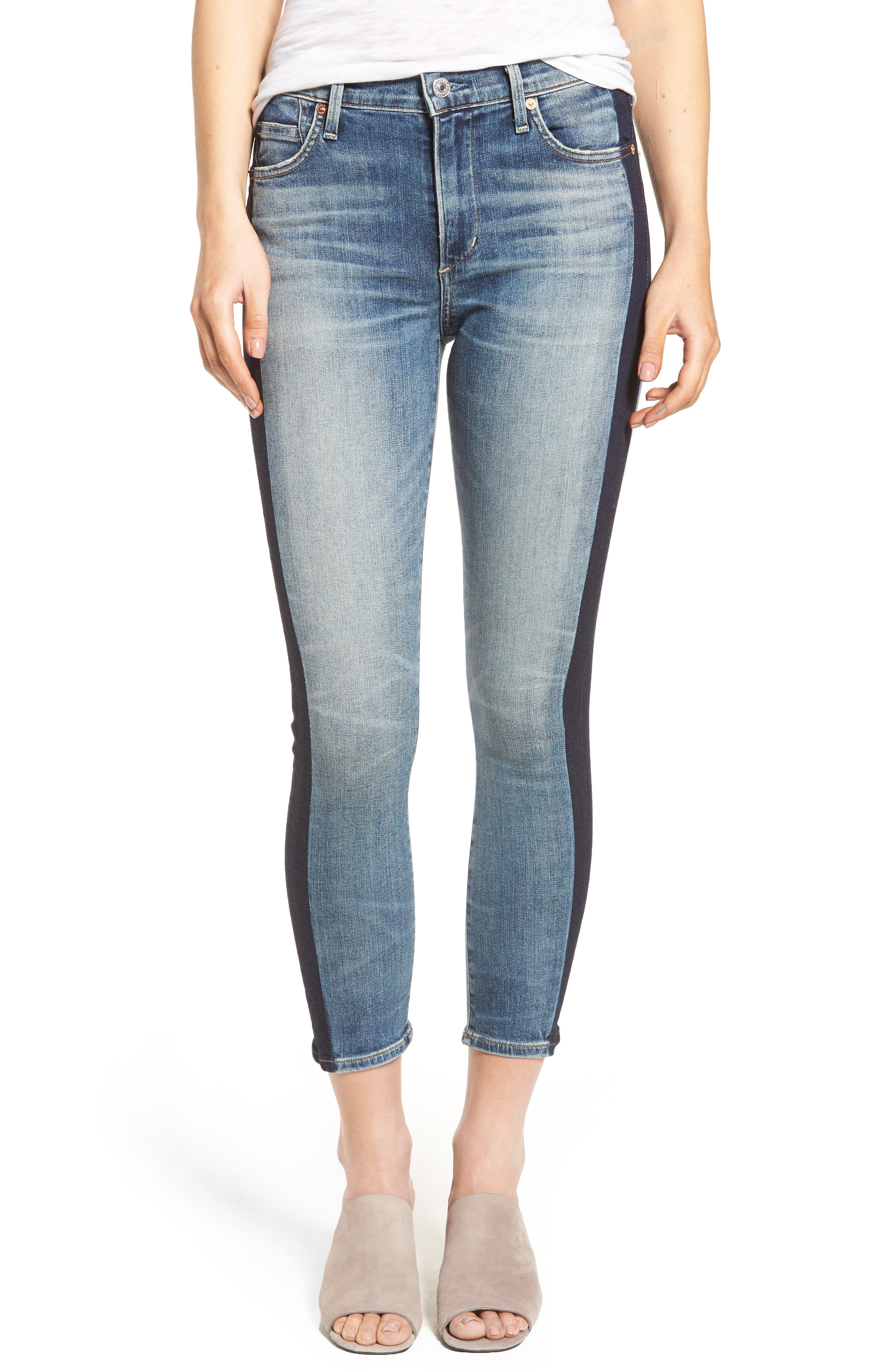 Alternate Image 1 Selected - Citizens of Humanity Rocket High Waist Crop Skinny Jeans (Shadow Stripe)