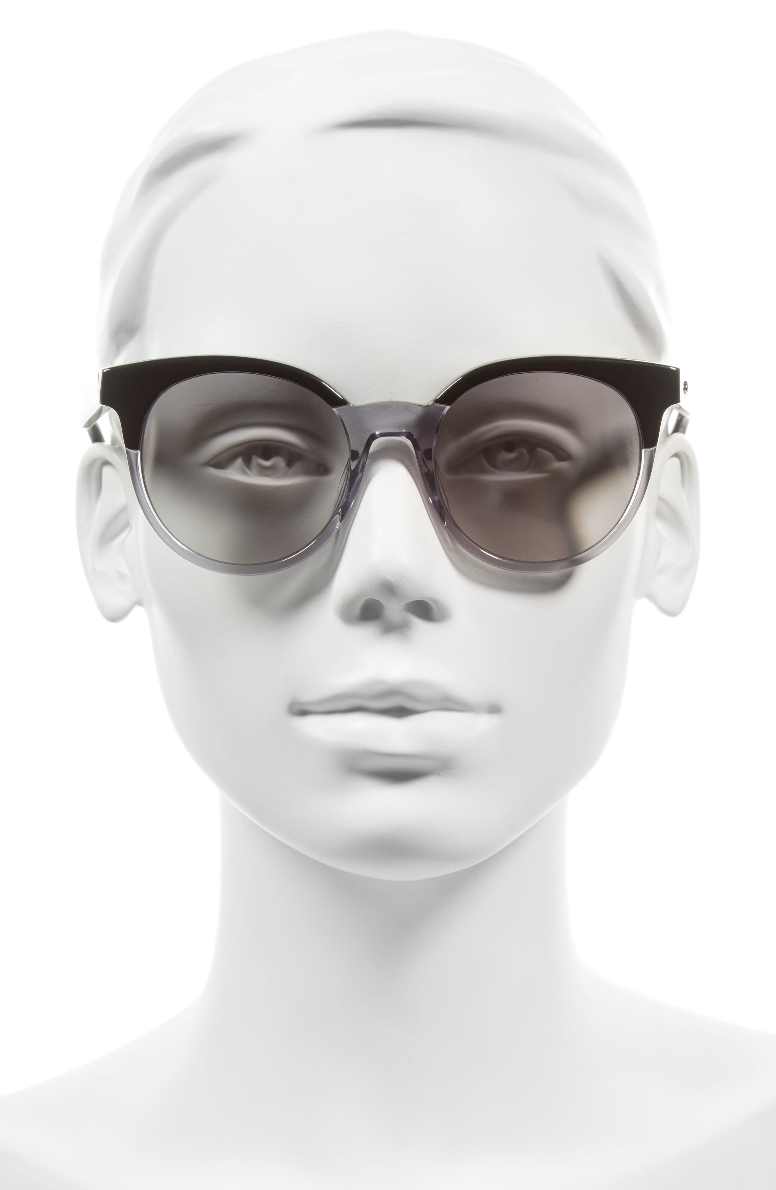abianne 51mm round sunglasses,                             Alternate thumbnail 2, color,                             Black/ Grey