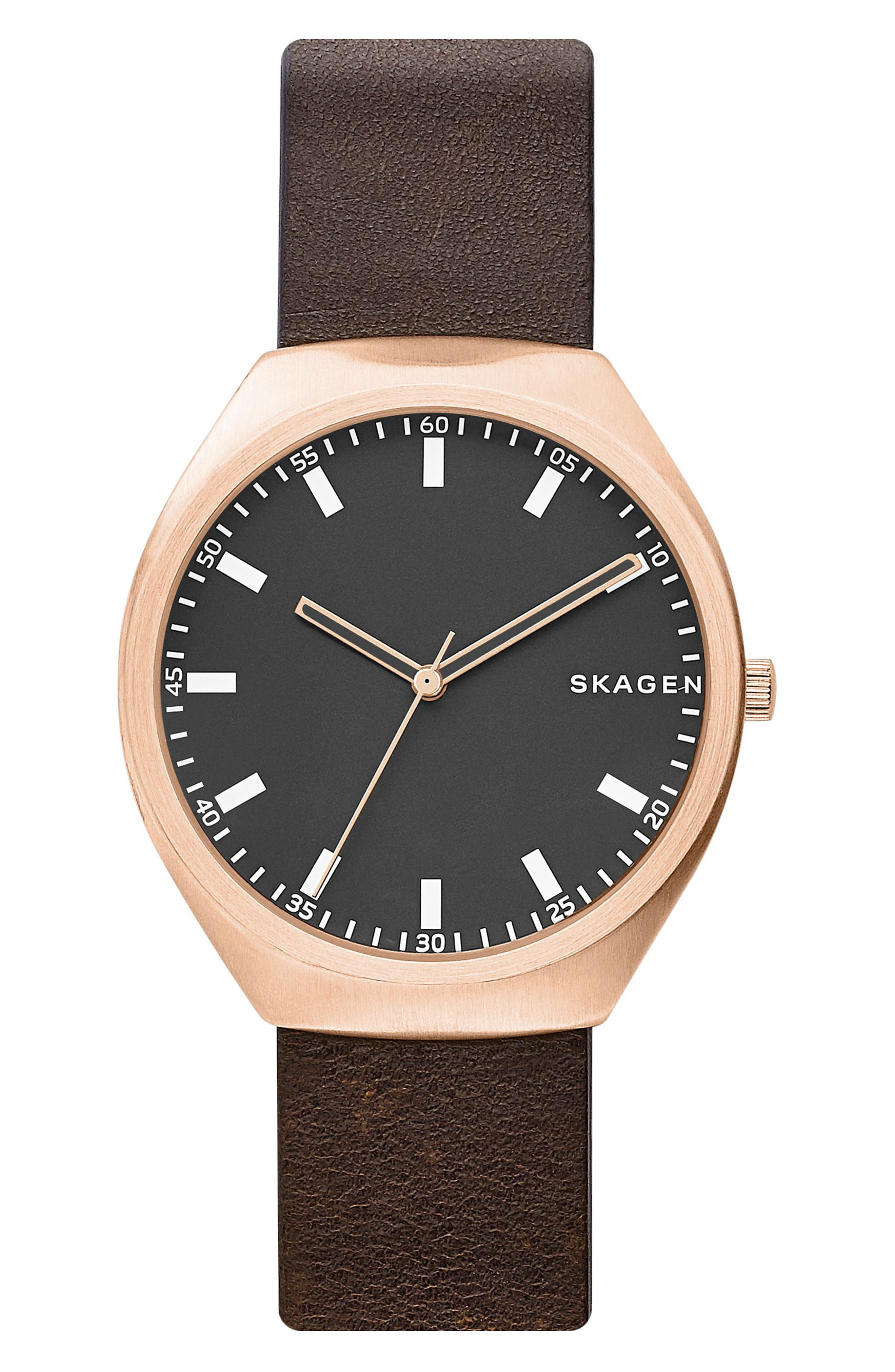 Skagen Greenen Leather Strap Watch, 40mm