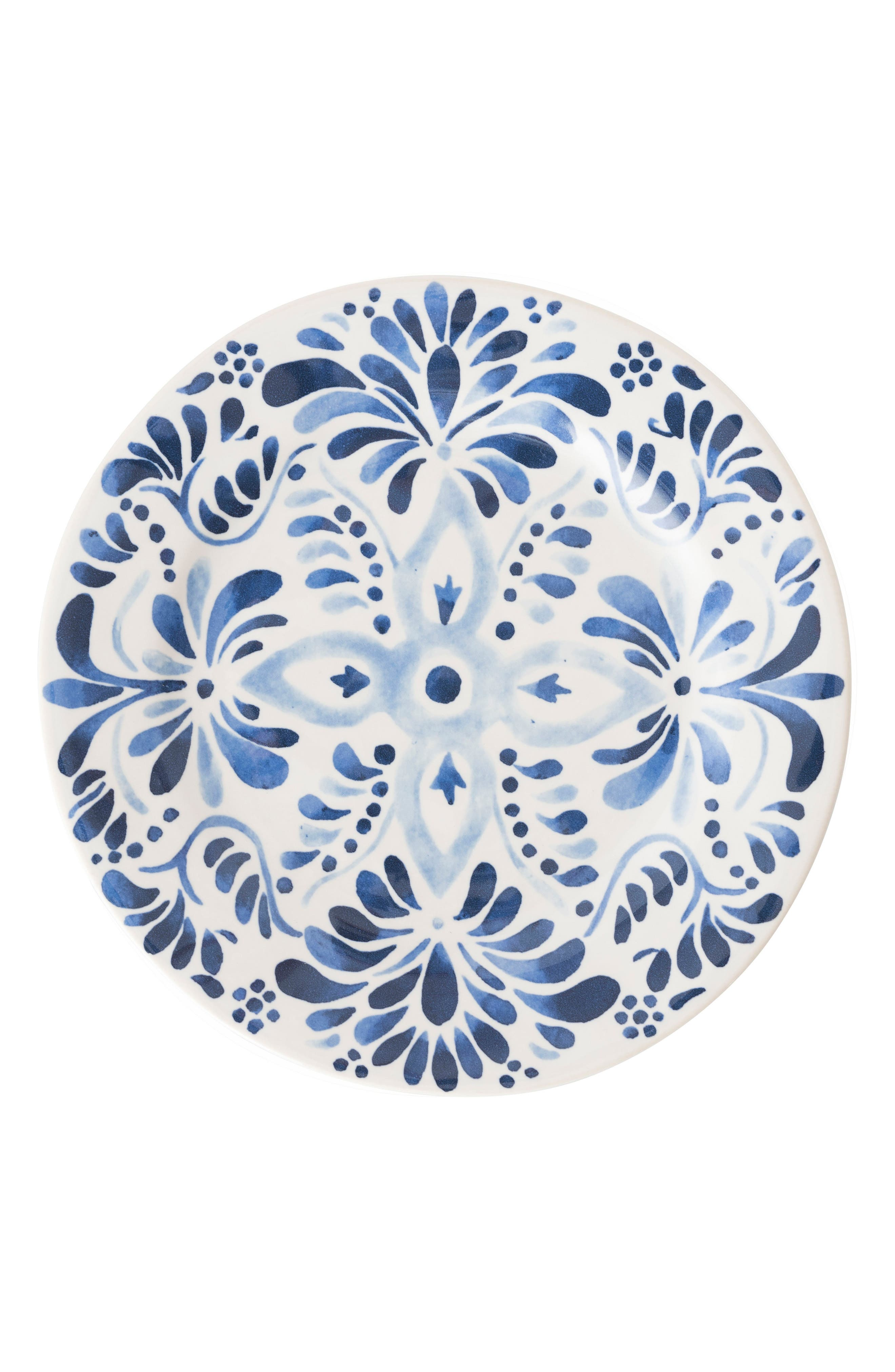 Wanderlust Collection - Sitio Stripe Stoneware Dinner Plate,                             Main thumbnail 1, color,                             Indigo