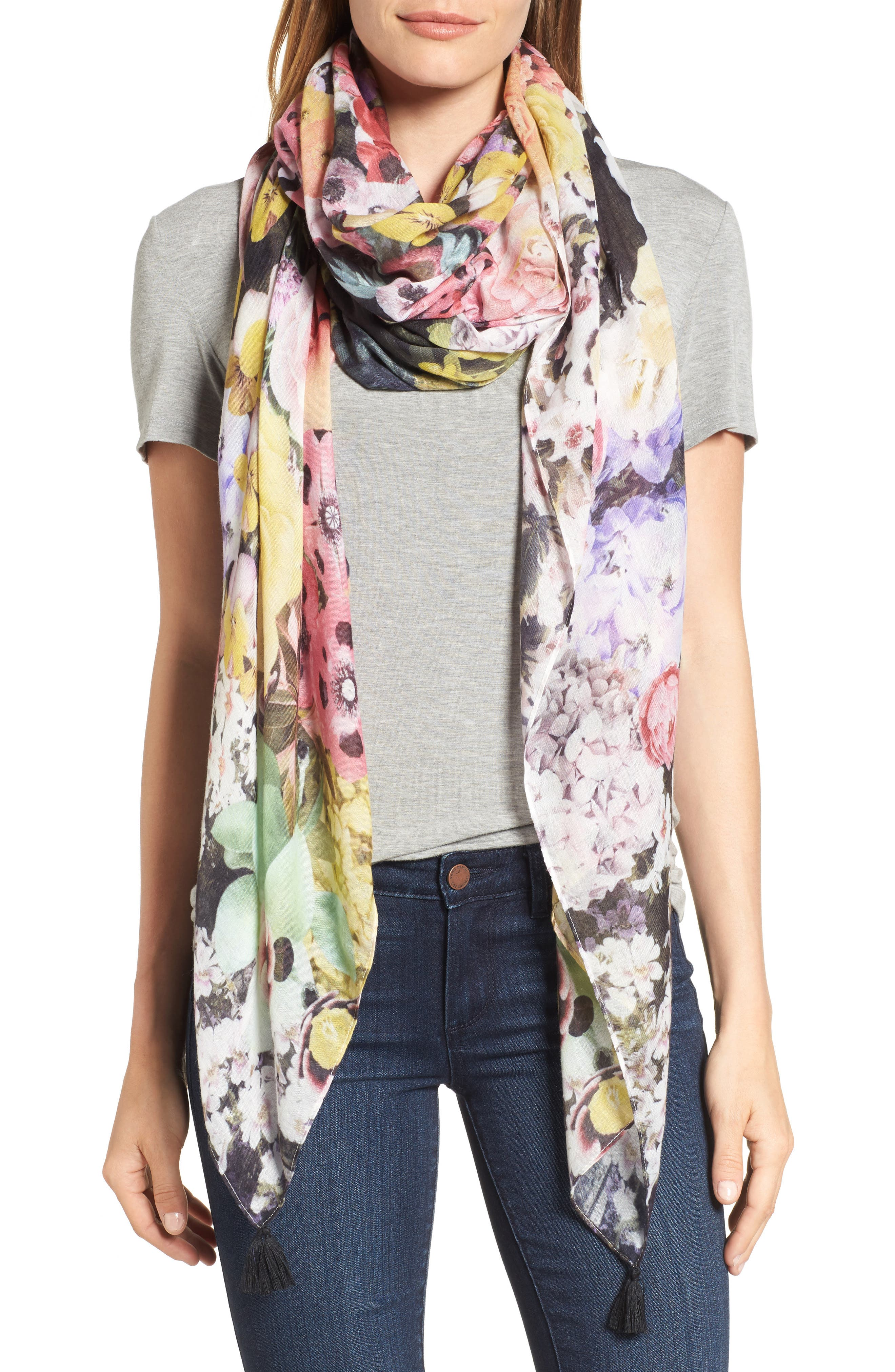 Blossoming Cuba Scarf,                         Main,                         color, White Sand