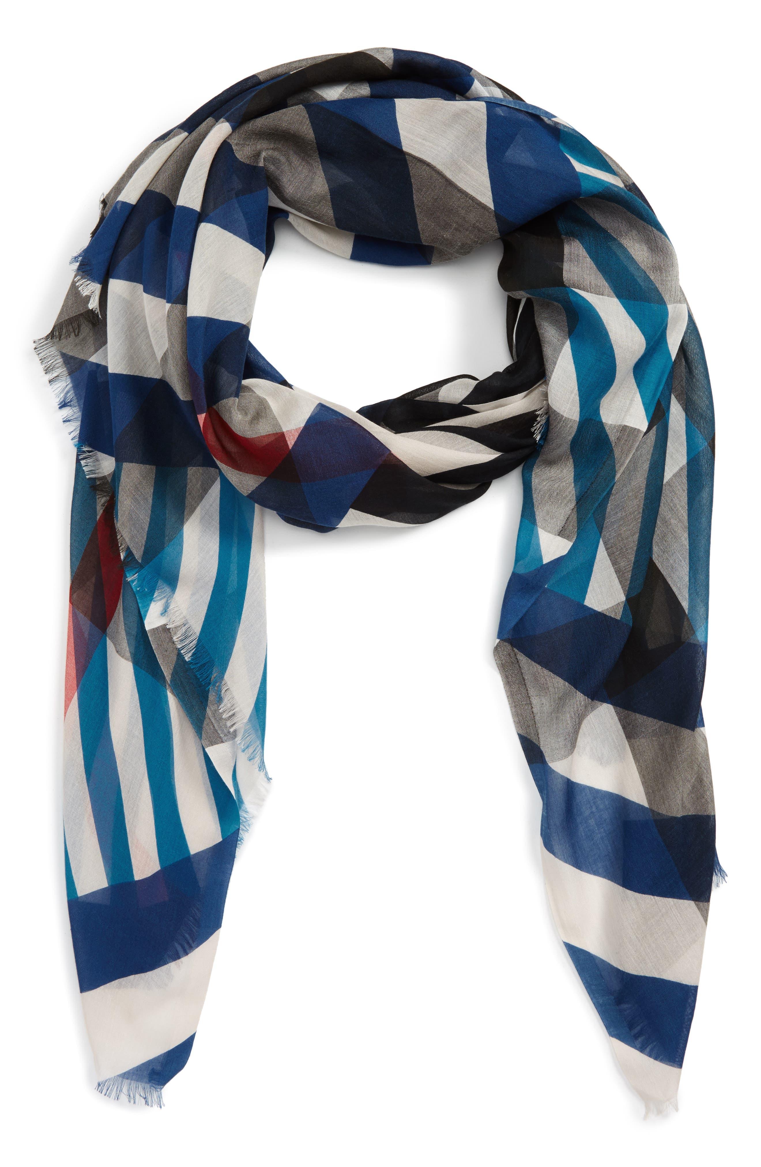 Main Image - Burberry Stripe & Check Scarf