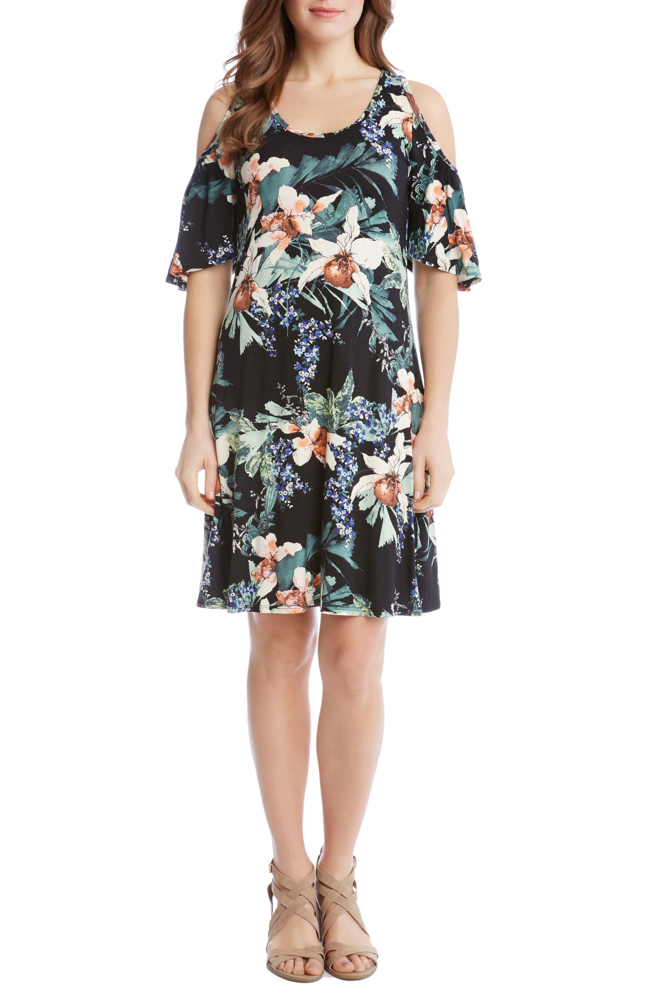Orhid Garden Cold Shoulder Dresss,                         Main,                         color, Print