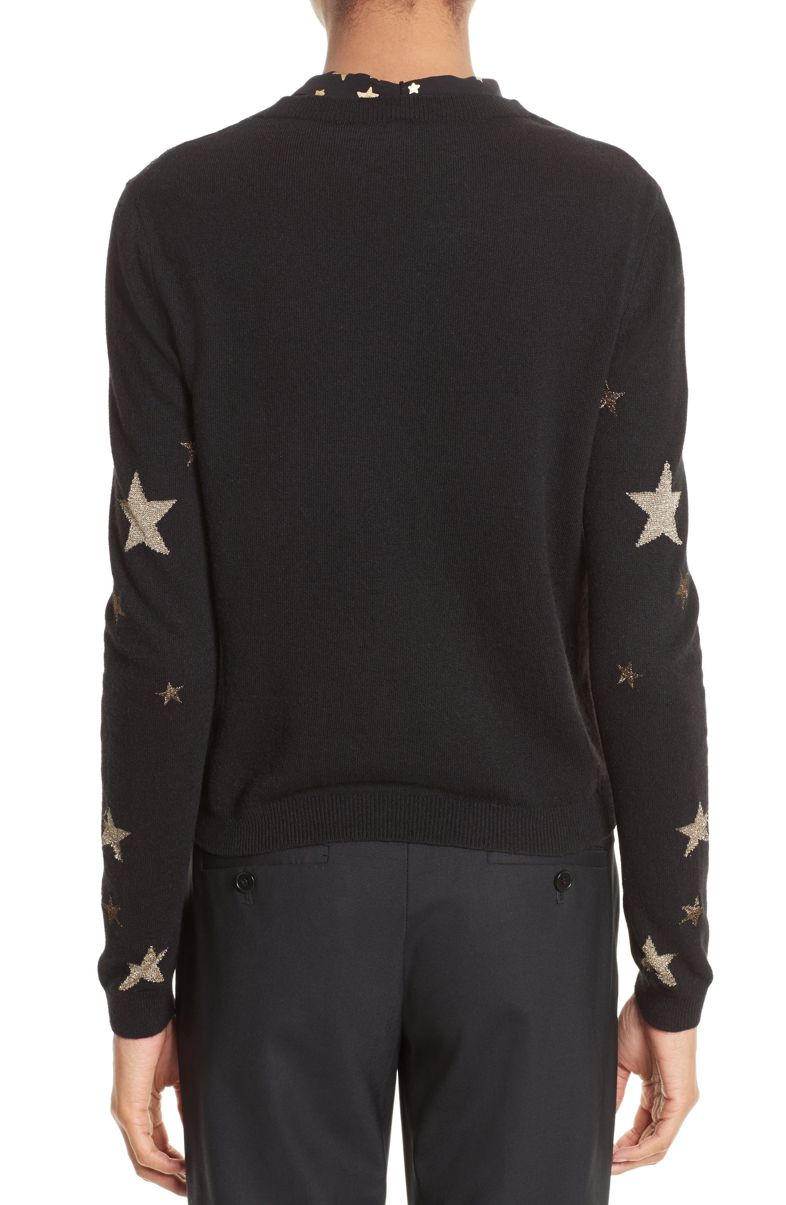 Tie Neck Star Sweater,                             Alternate thumbnail 2, color,                             Nero